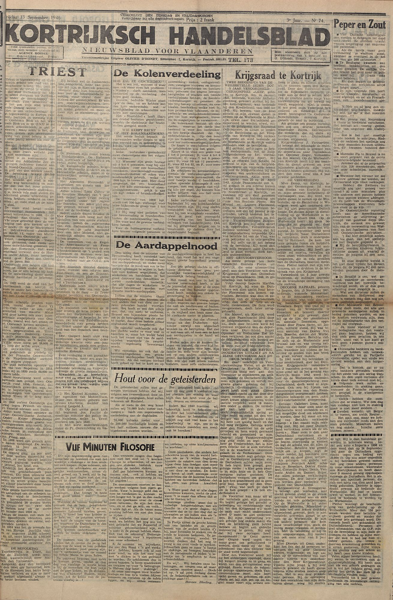 Kortrijksch Handelsblad 13 september 1946 Nr74 p1