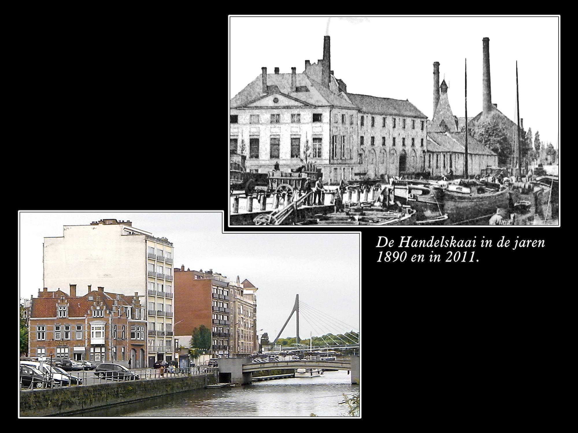 Handelskaai rond 1890 en in 2011
