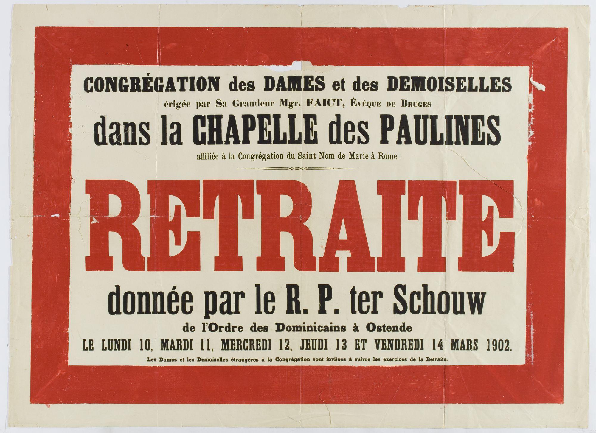 Retraite in de Kapel der Paulinen 1902