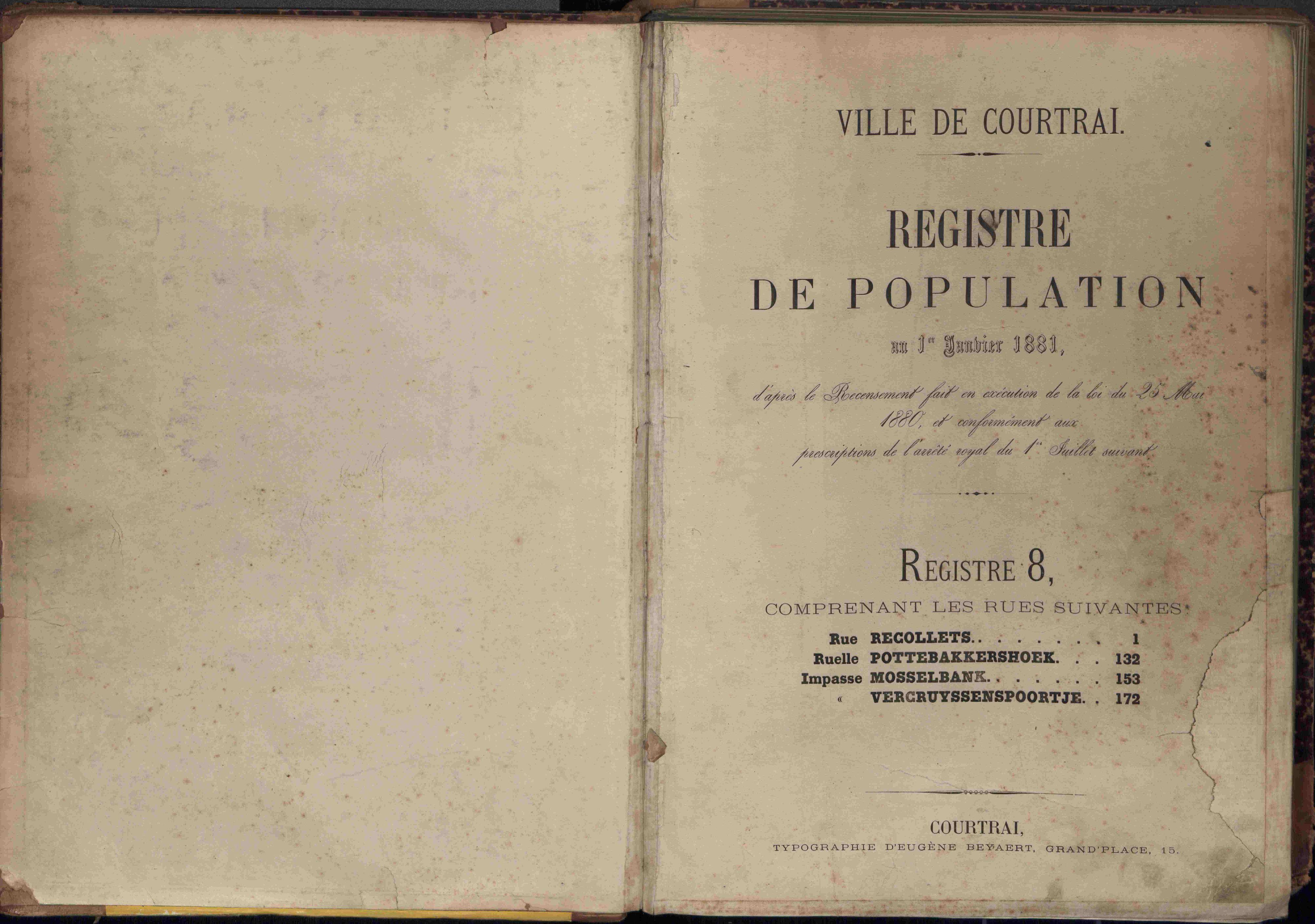 Bevolkingsregister Kortrijk 1880 boek 8