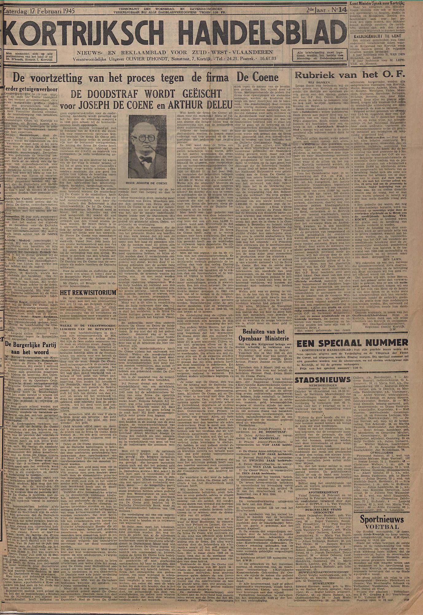 Kortrijksch Handelsblad 17 februari 1945 Nr14 p1