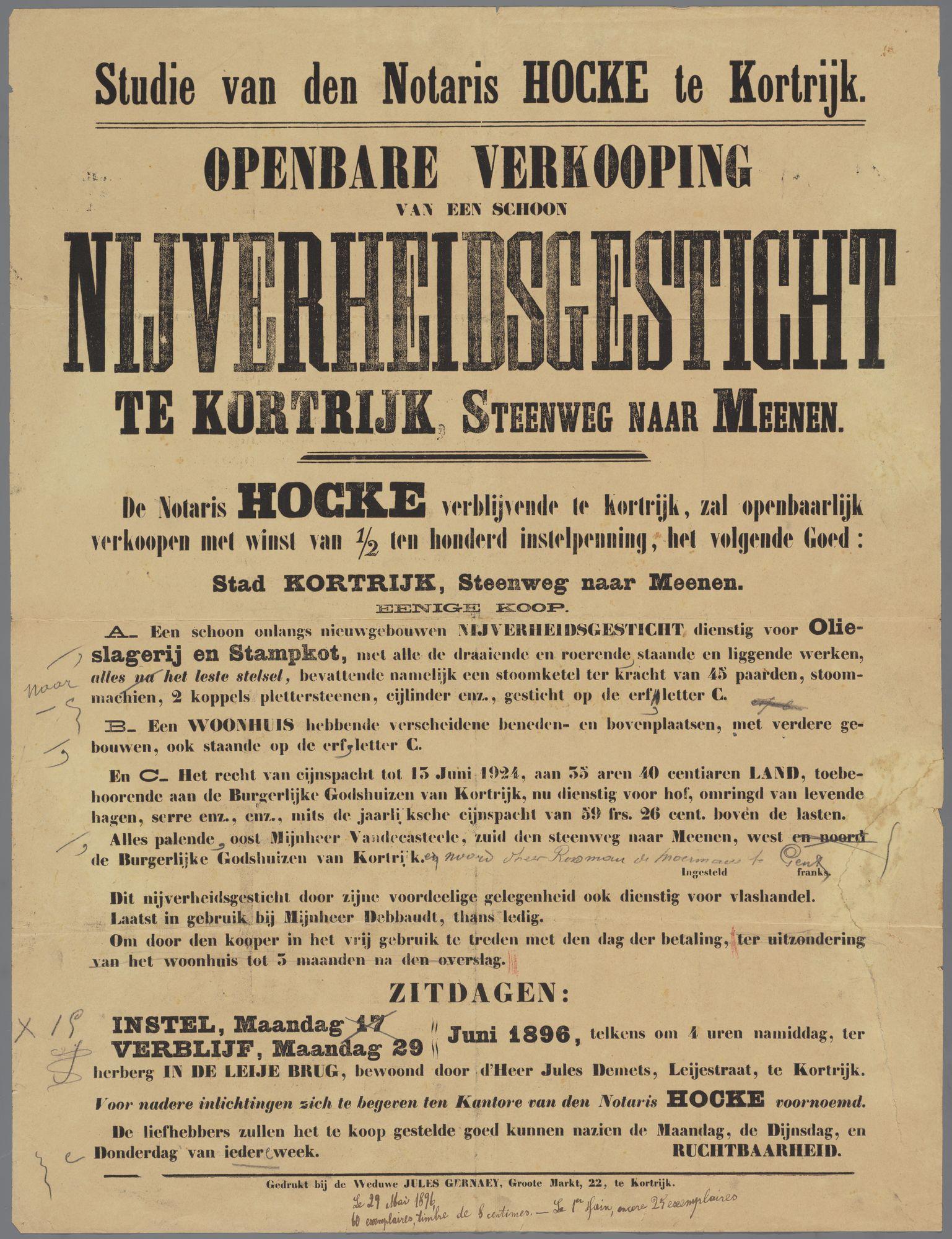 Verkoop van handelspand (Nijverheidsgesticht) 1896