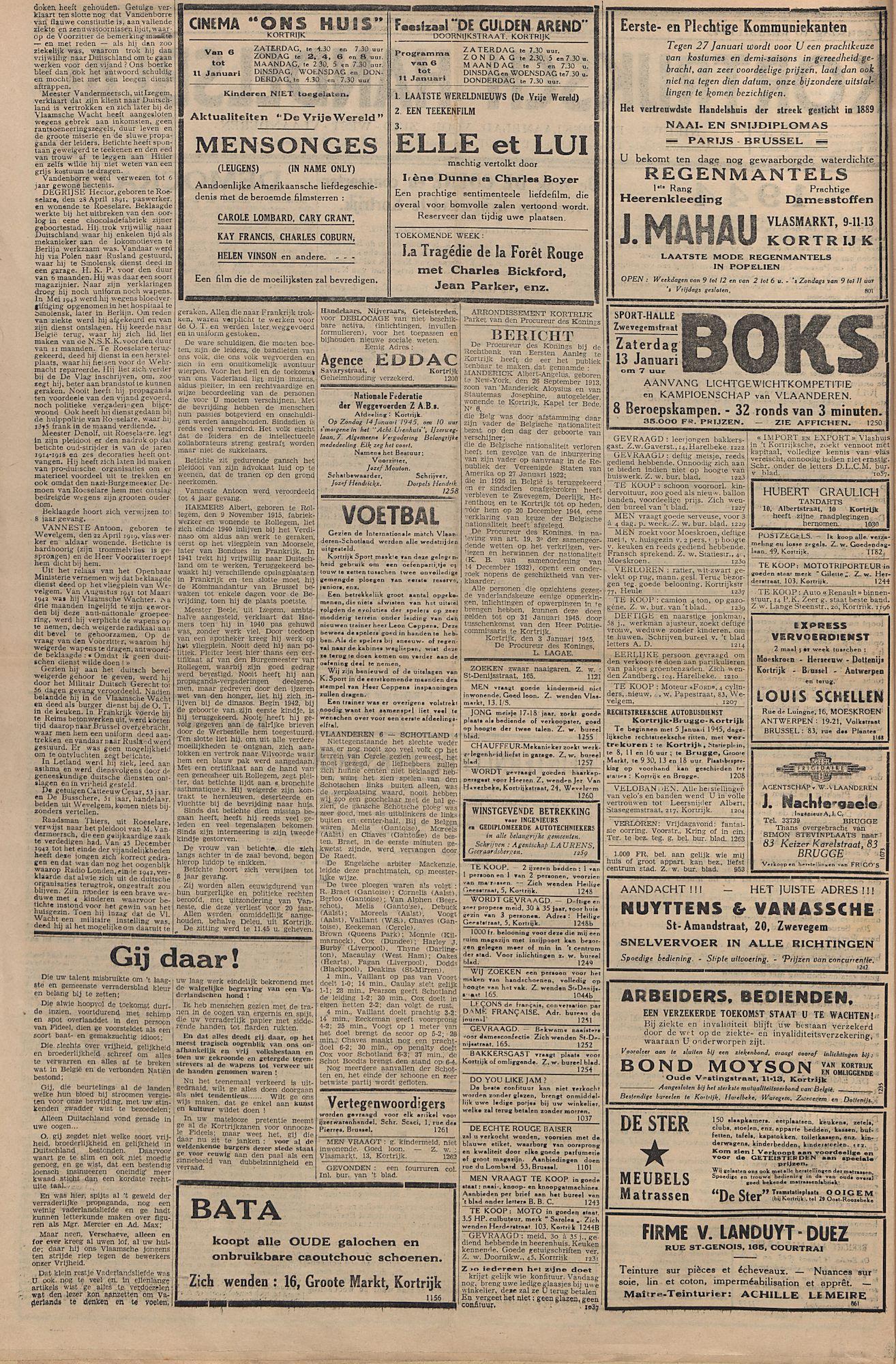 Kortrijksch Handelsblad 10 januari 1945 Nr3 p2