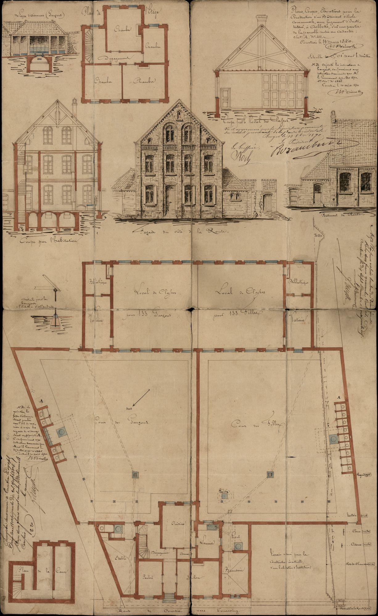 Bouwplannen voor de bouw van een gemeenteschool en een huis voor de onderwijzer te Aalbeke, 1964-1870