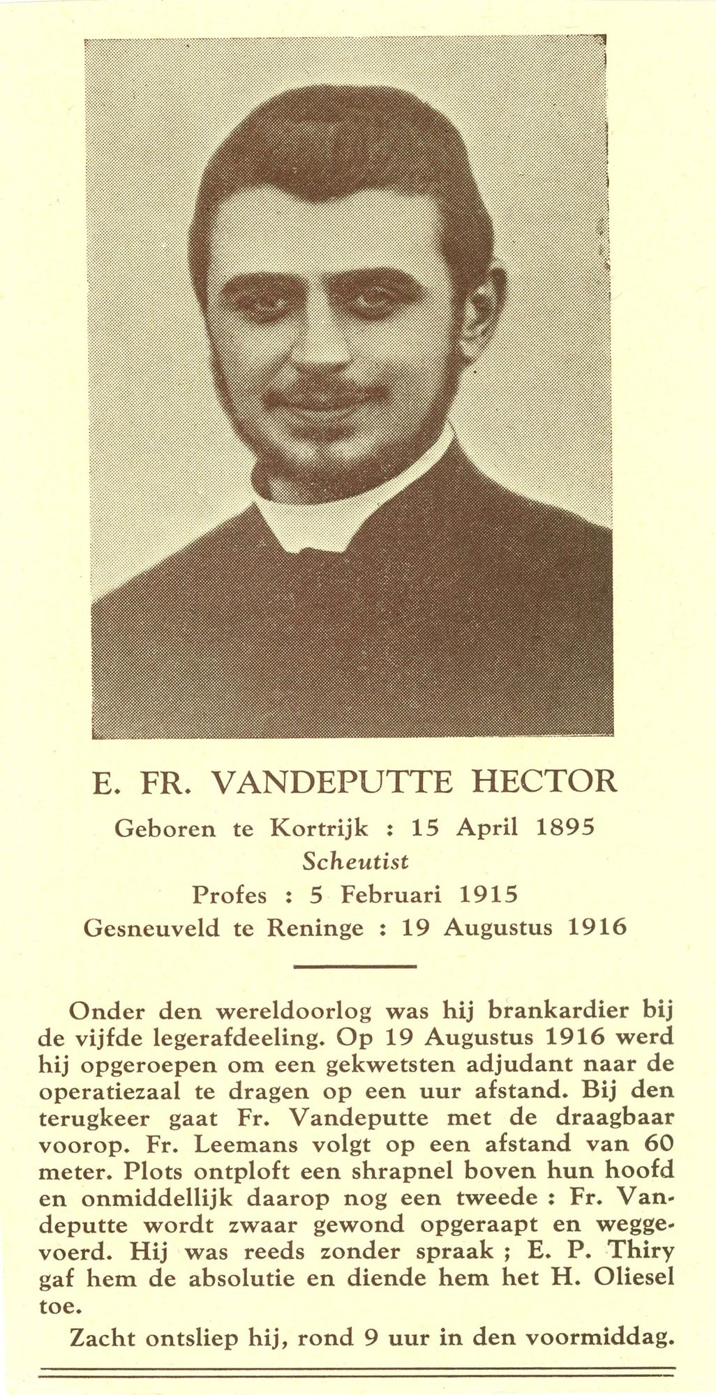 Bidprentje van scheutist Hector Vandeputte