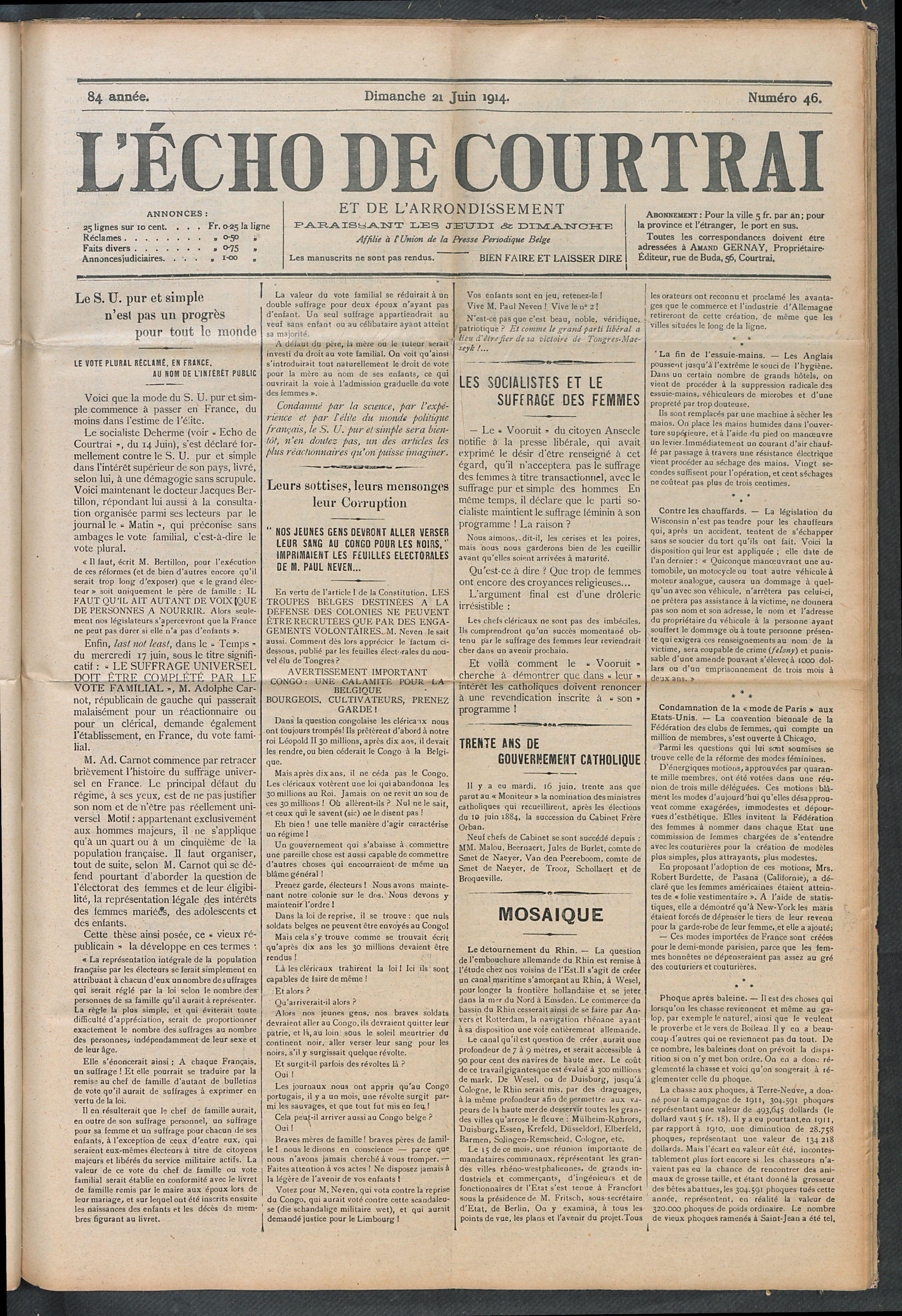L'echo De Courtrai 1914-06-21 p1
