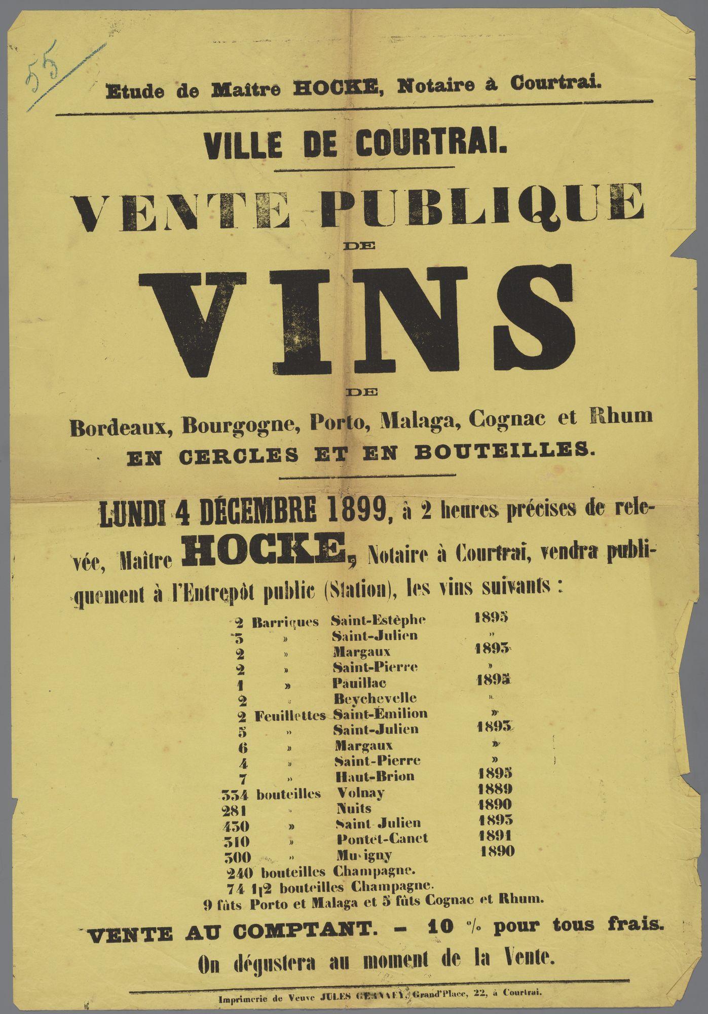 Openbare verkoop van sterke drank 1899