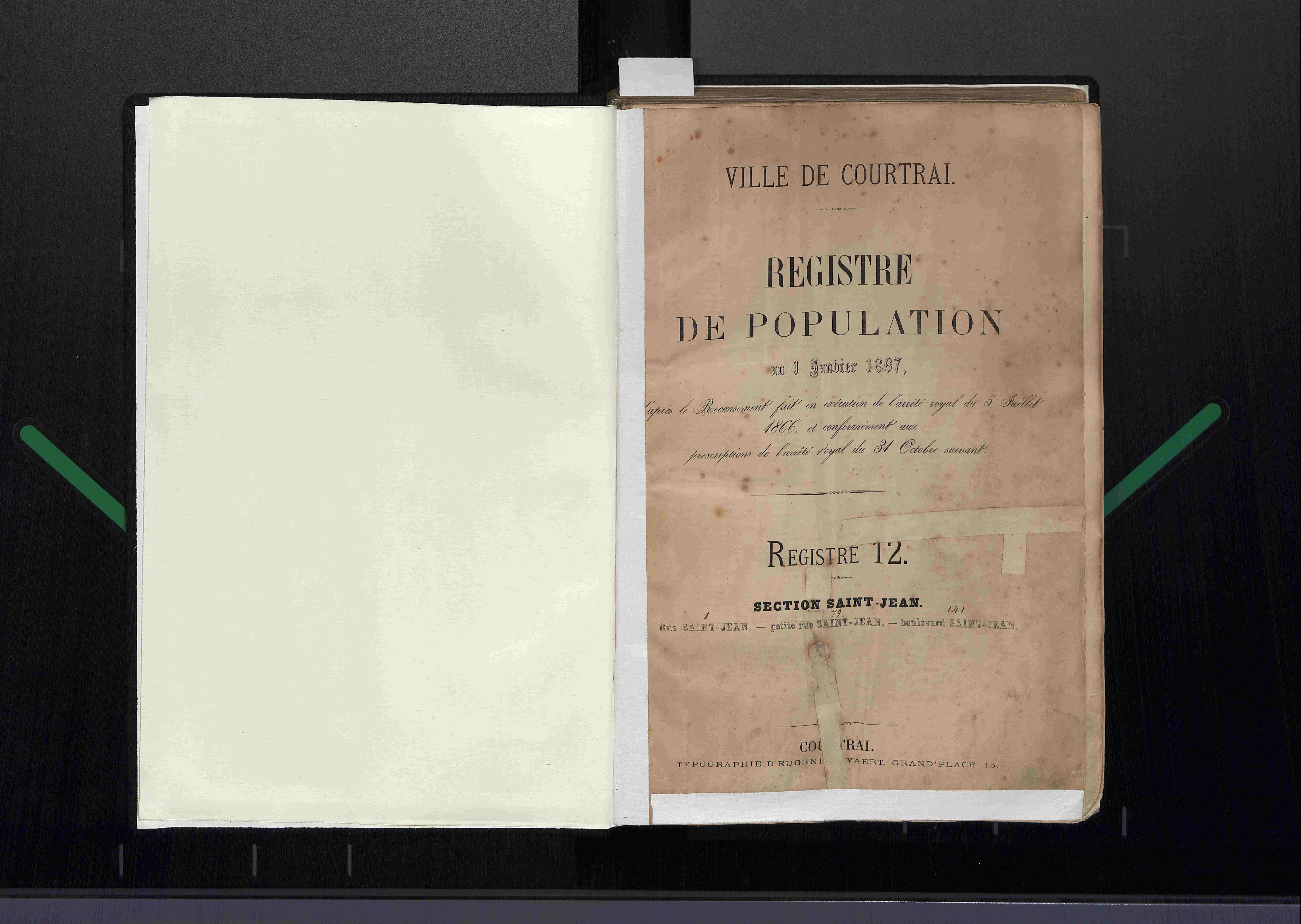 Bevolkingsregister Kortrijk 1866 boek 12