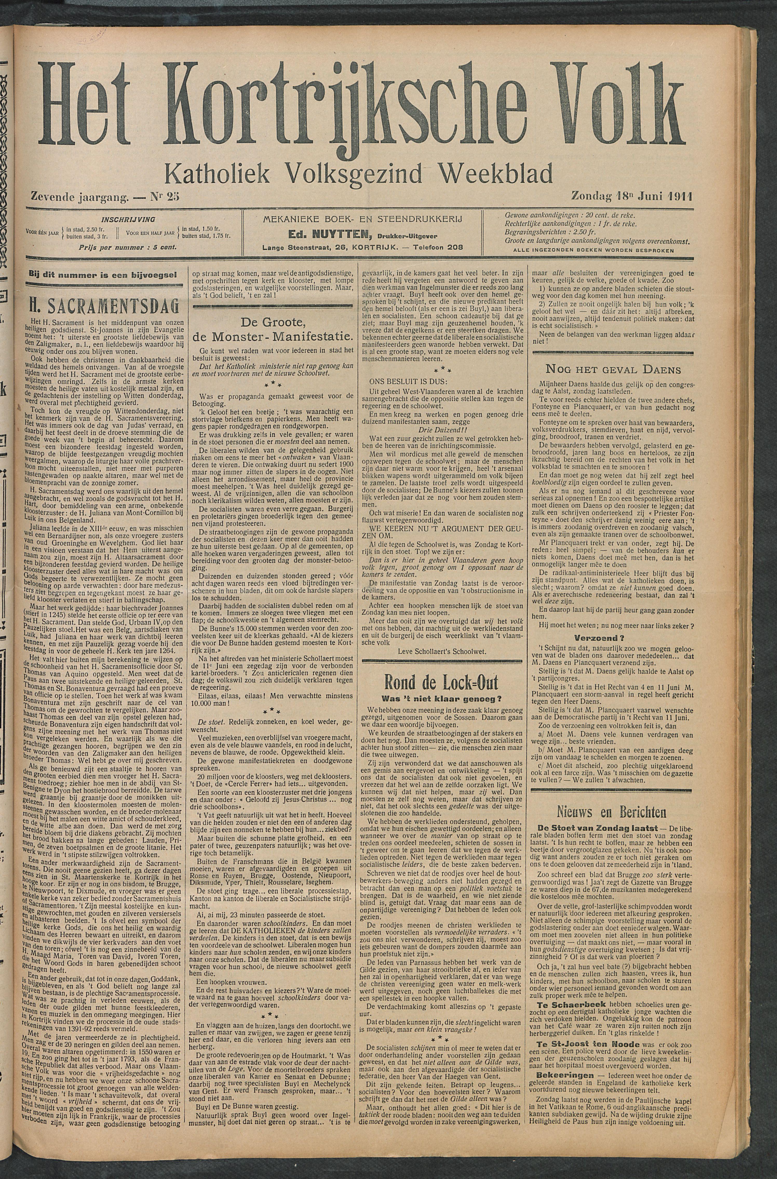 Het Kortrijksche Volk 1911-06-18 p1