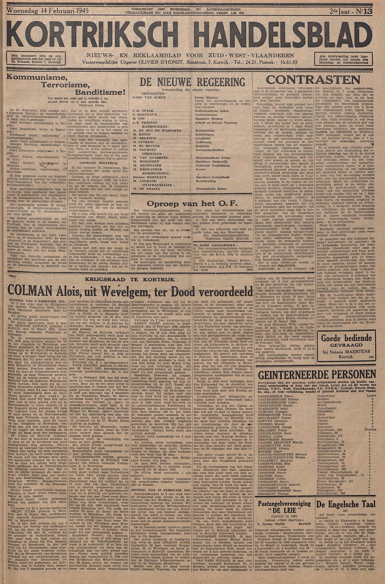 Kortrijksch Handelsblad 14 februari 1945 Nr13 p1