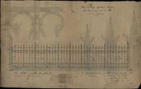 Bouwplan van een ijzeren afsluiting van de koer van het stadhuis te Kortrijk, 1898