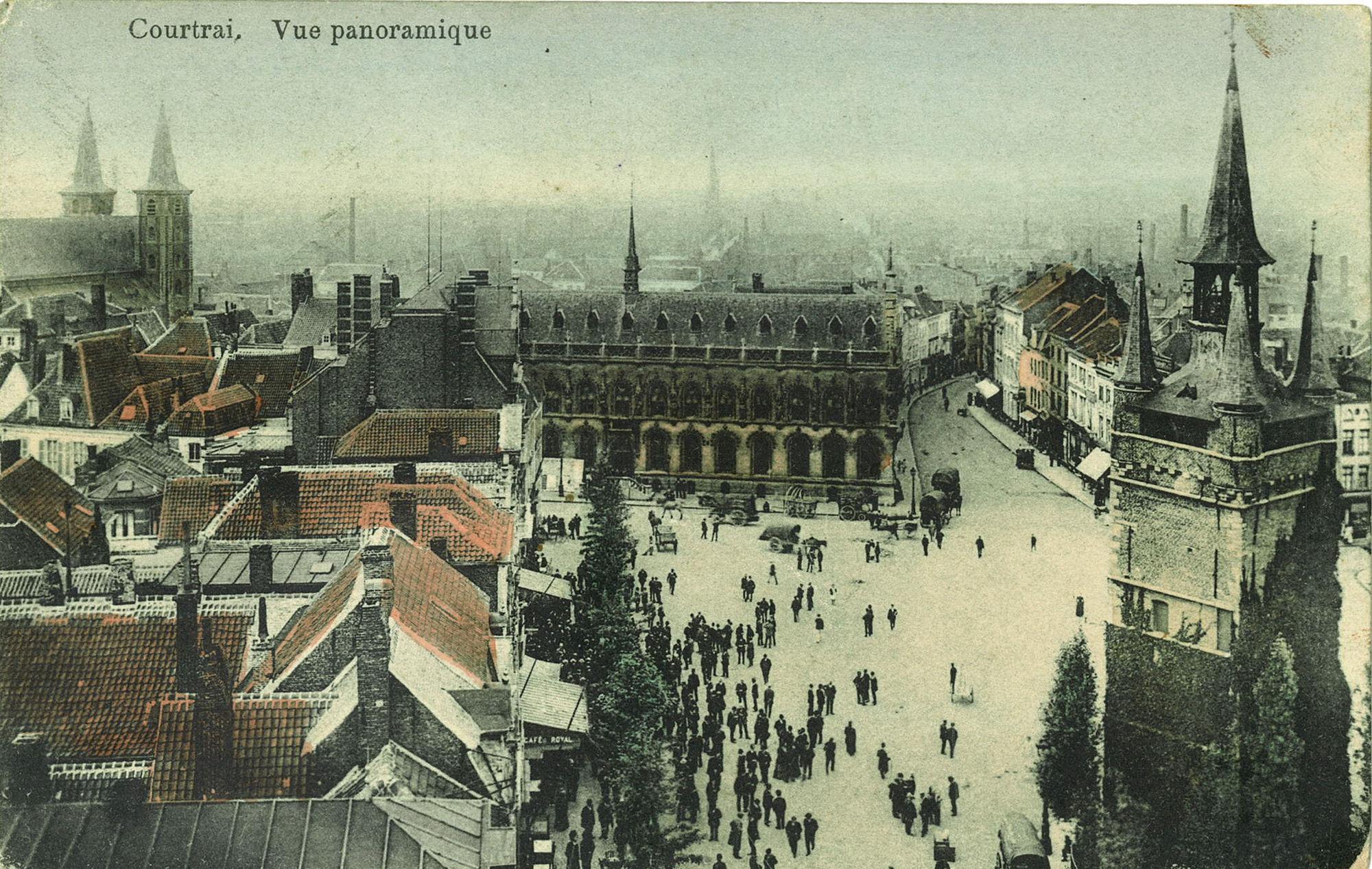 Panoramafoto van het centrum van Kortrijk