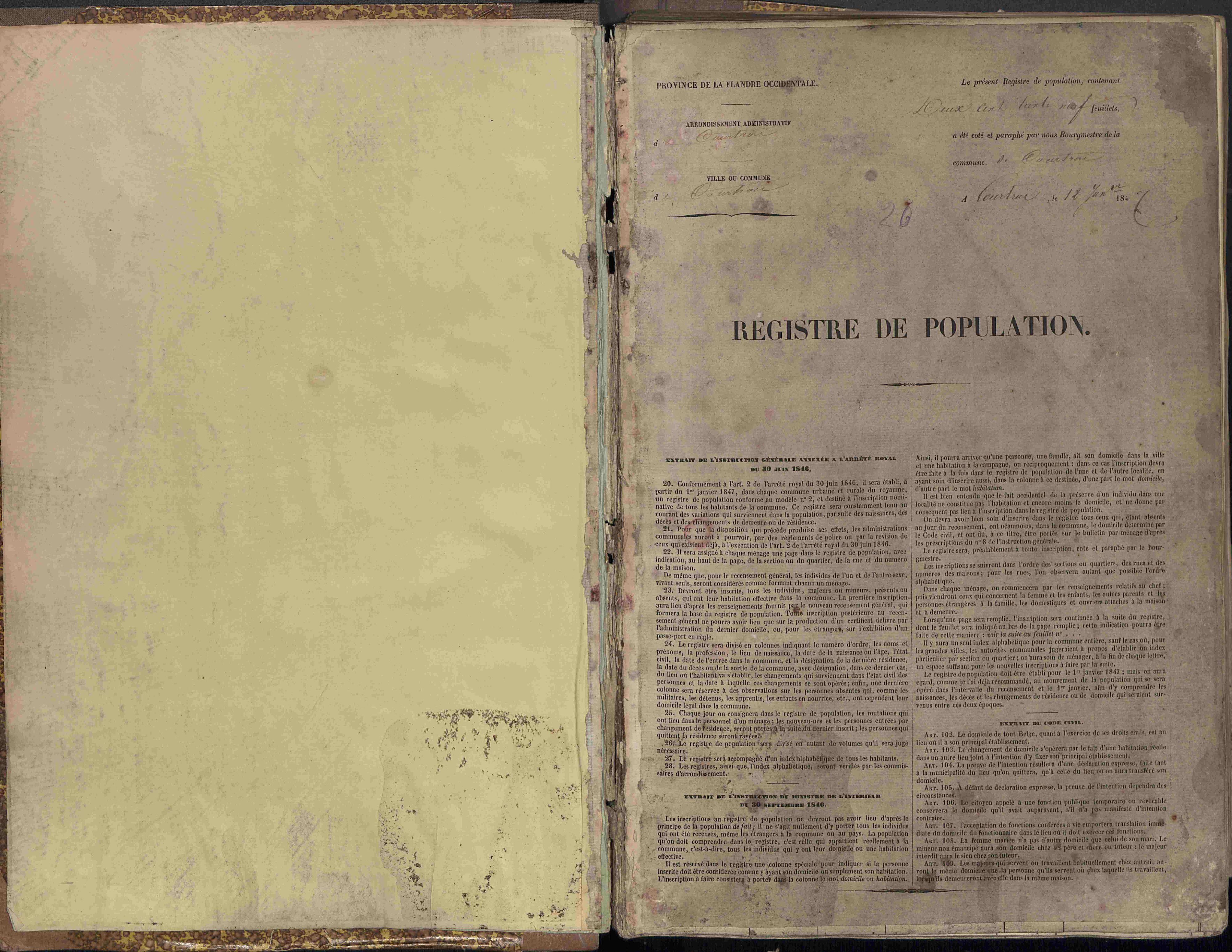 Bevolkingsregister Kortrijk 1846 boek 26