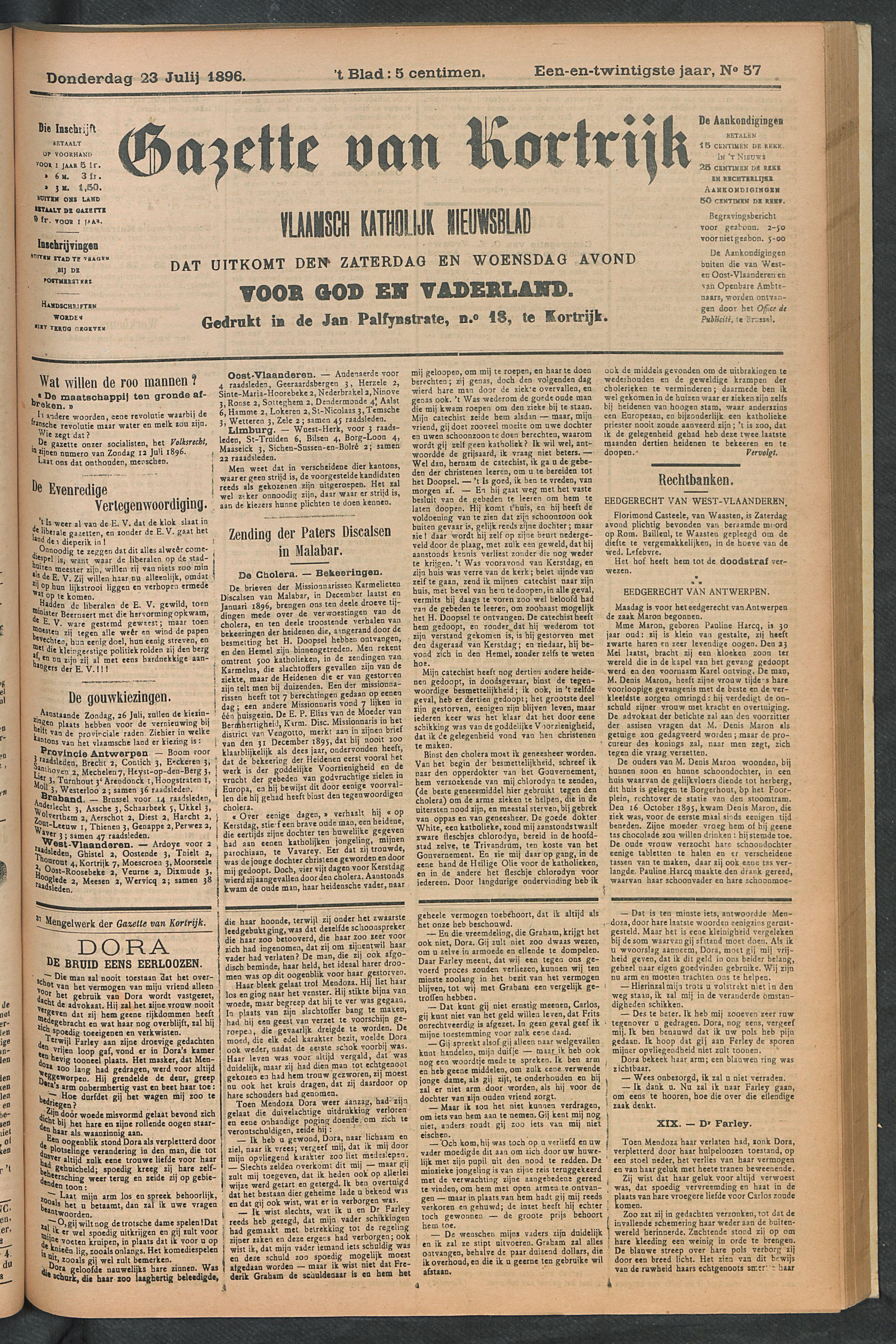 Gazette Van Kortrijk 1896-07-23 p1