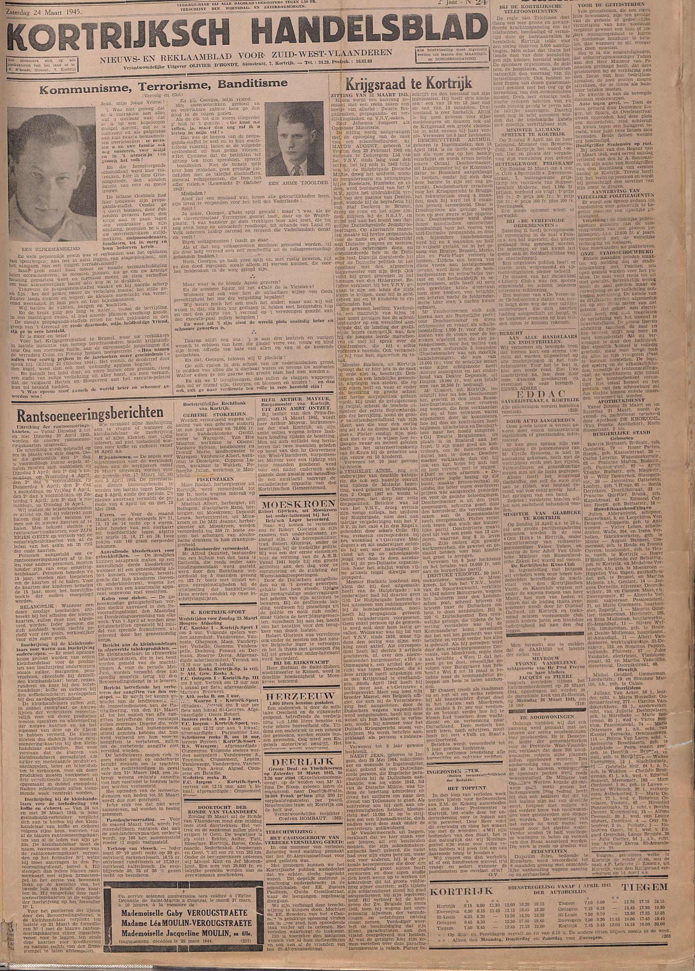 Kortrijksch Handelsblad 24 maart 1945 Nr24 p1