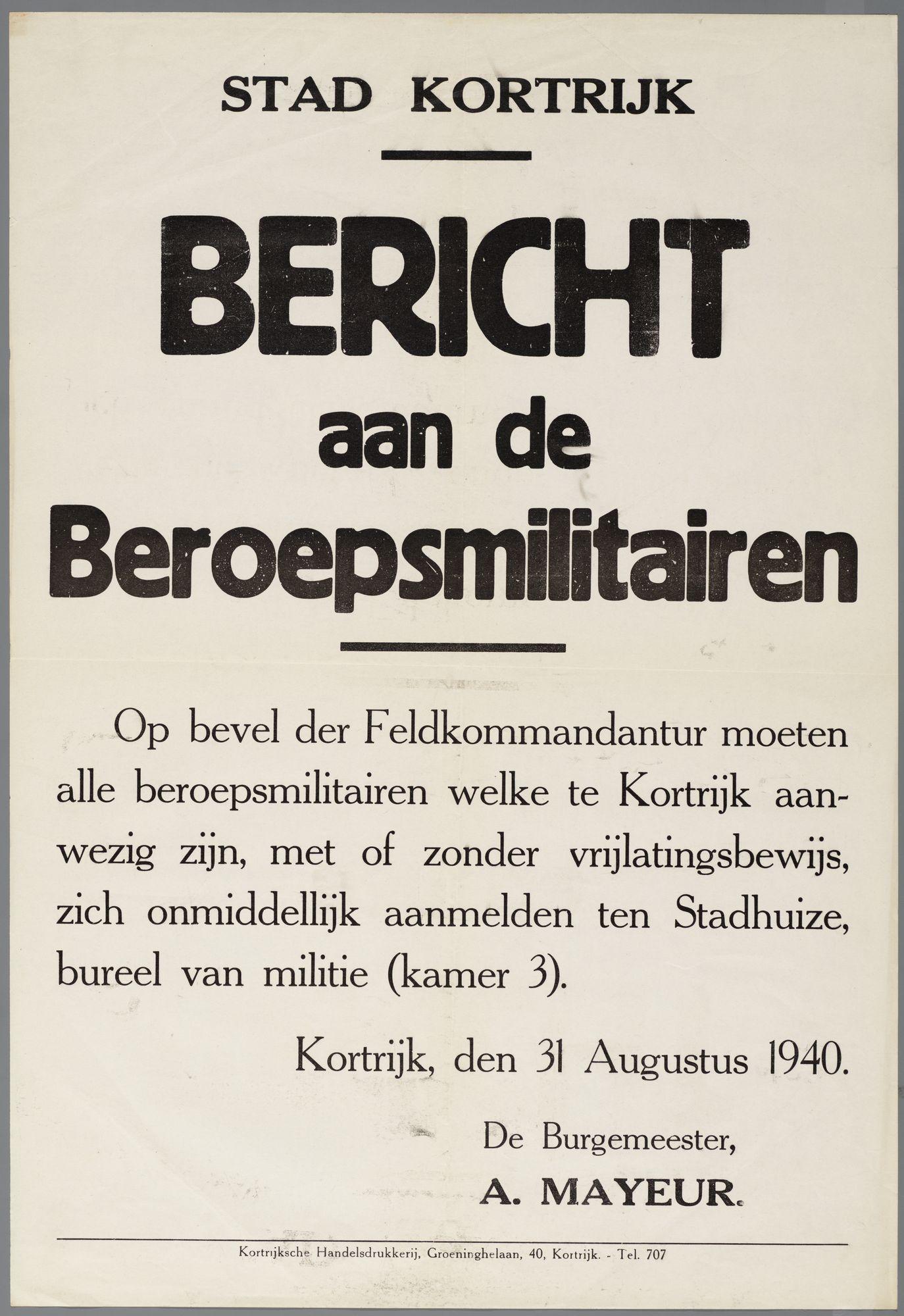 Bekendmaking van de Duitse Militaire overheid  1940
