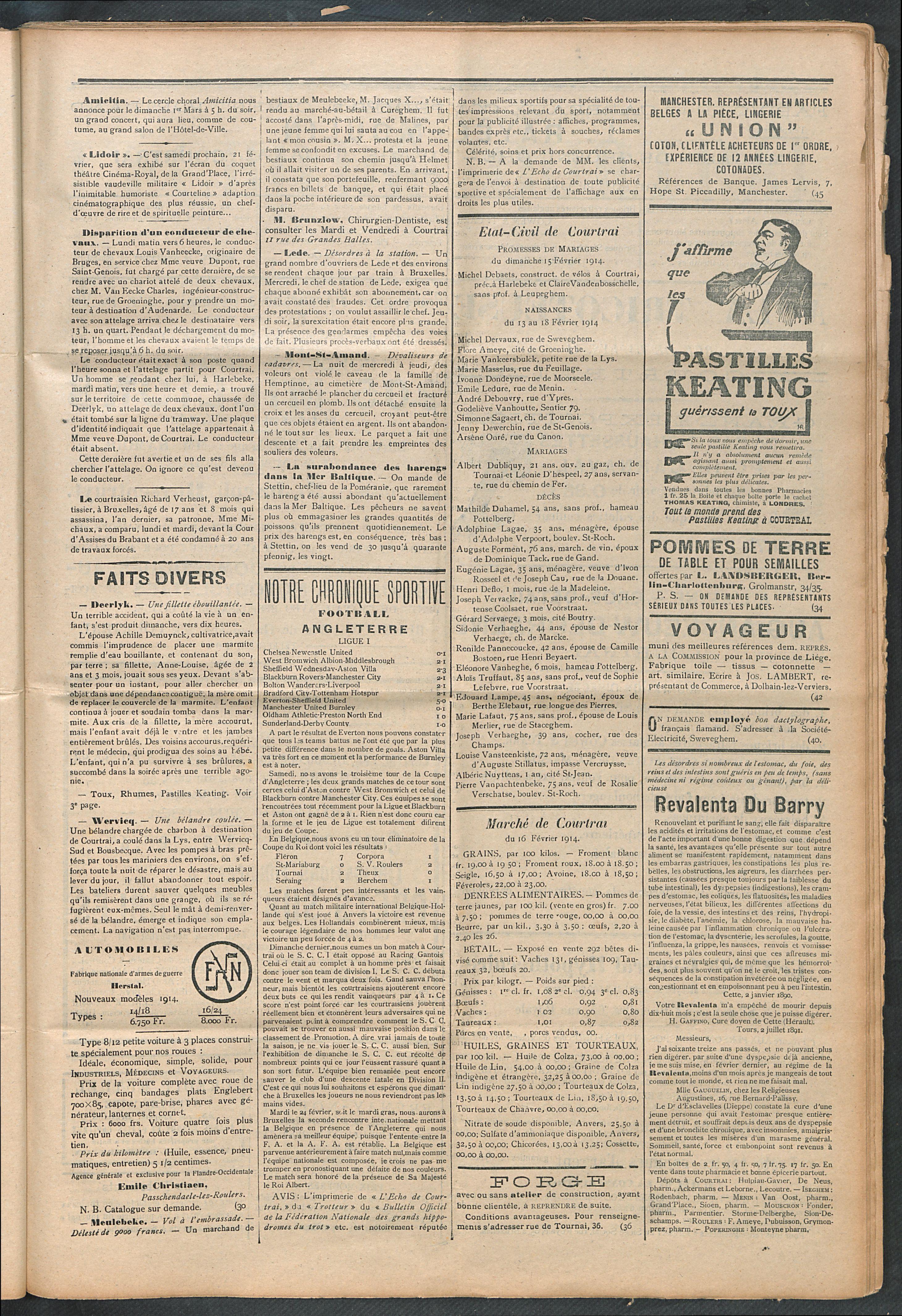 L'echo De Courtrai 1914-02-19 p3