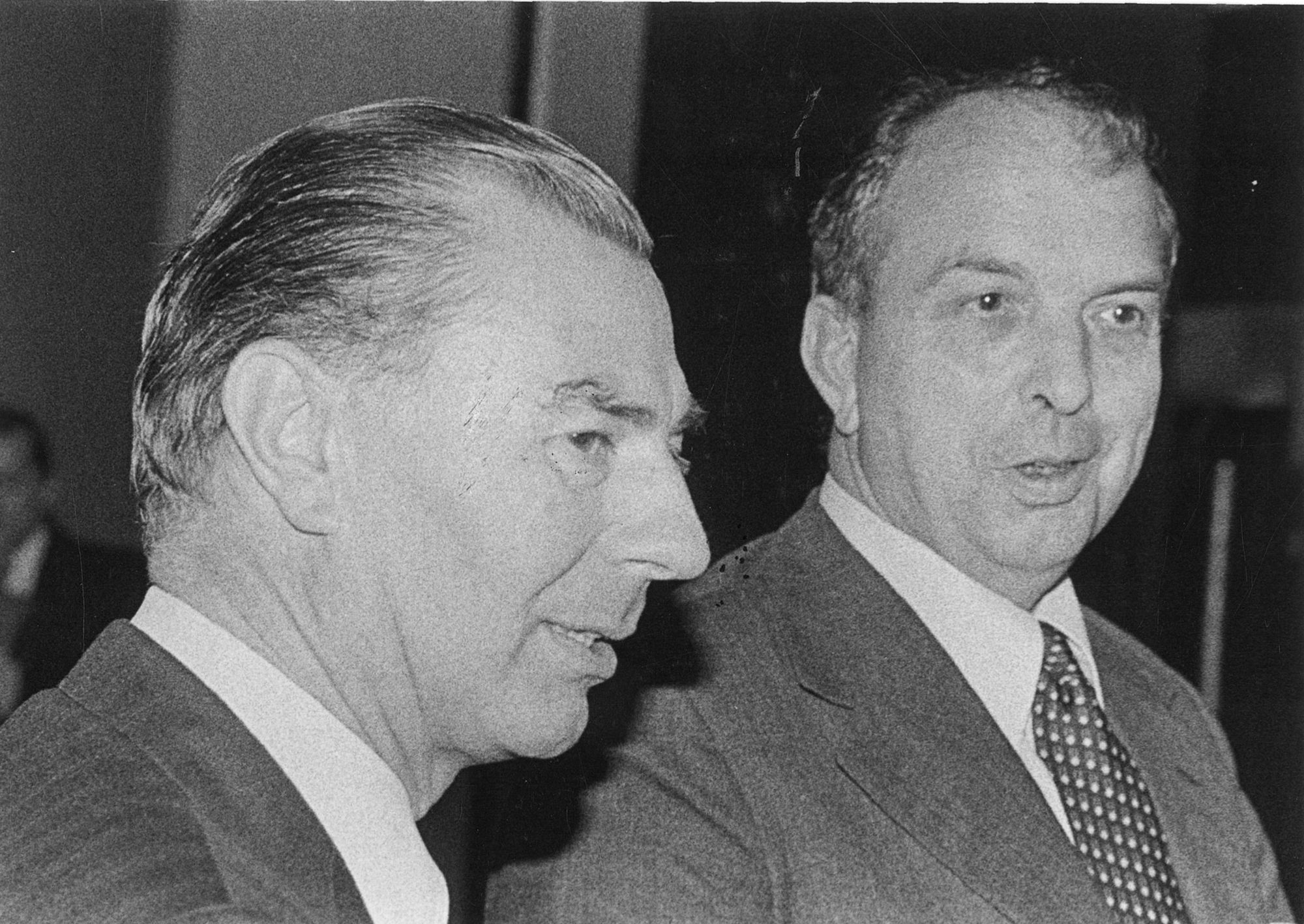 Minister Tindemans Leo met minister Lavens