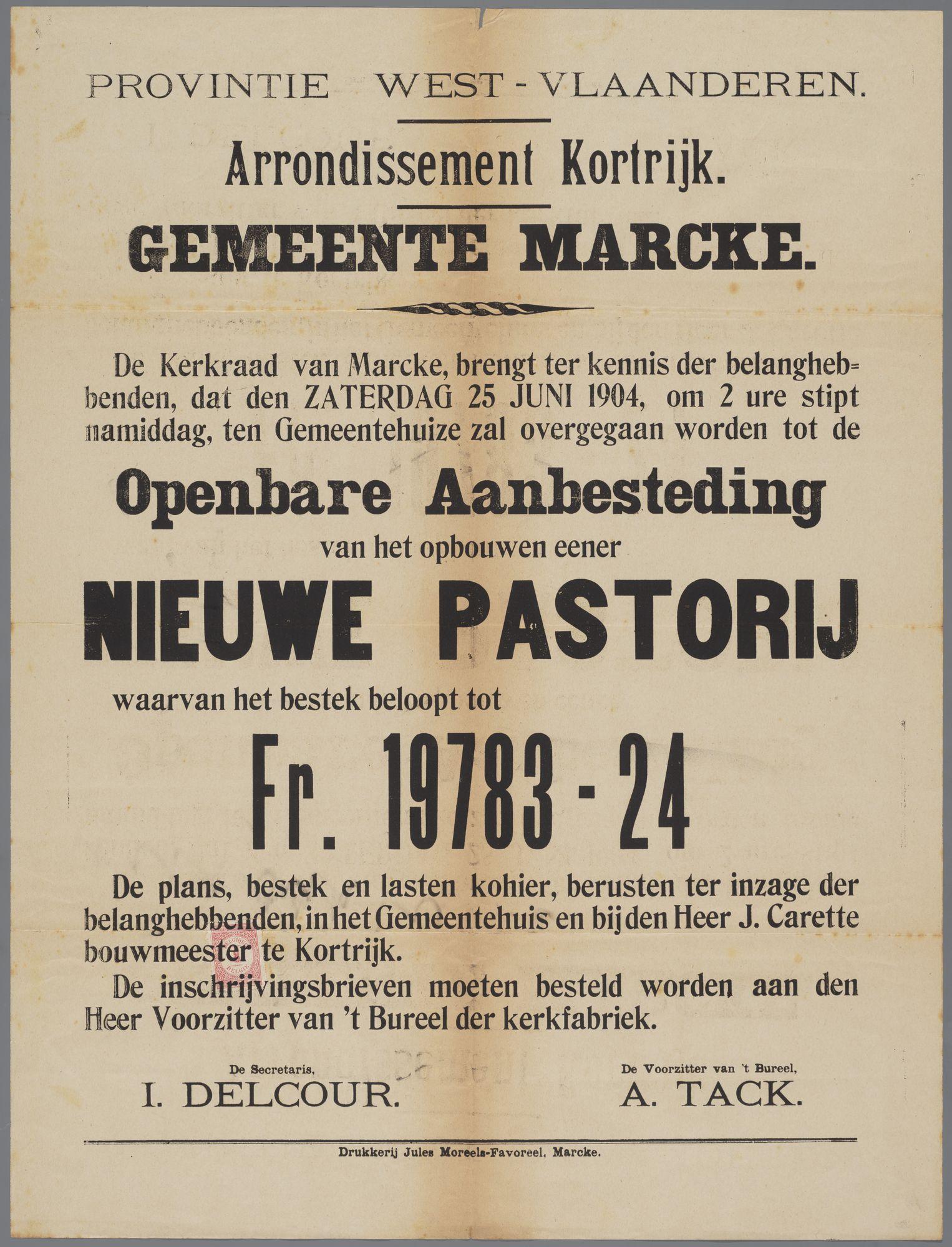 Aankondiging Marke van openbare aanbesteding voor de bouw van de nieuwe pastorij 1904
