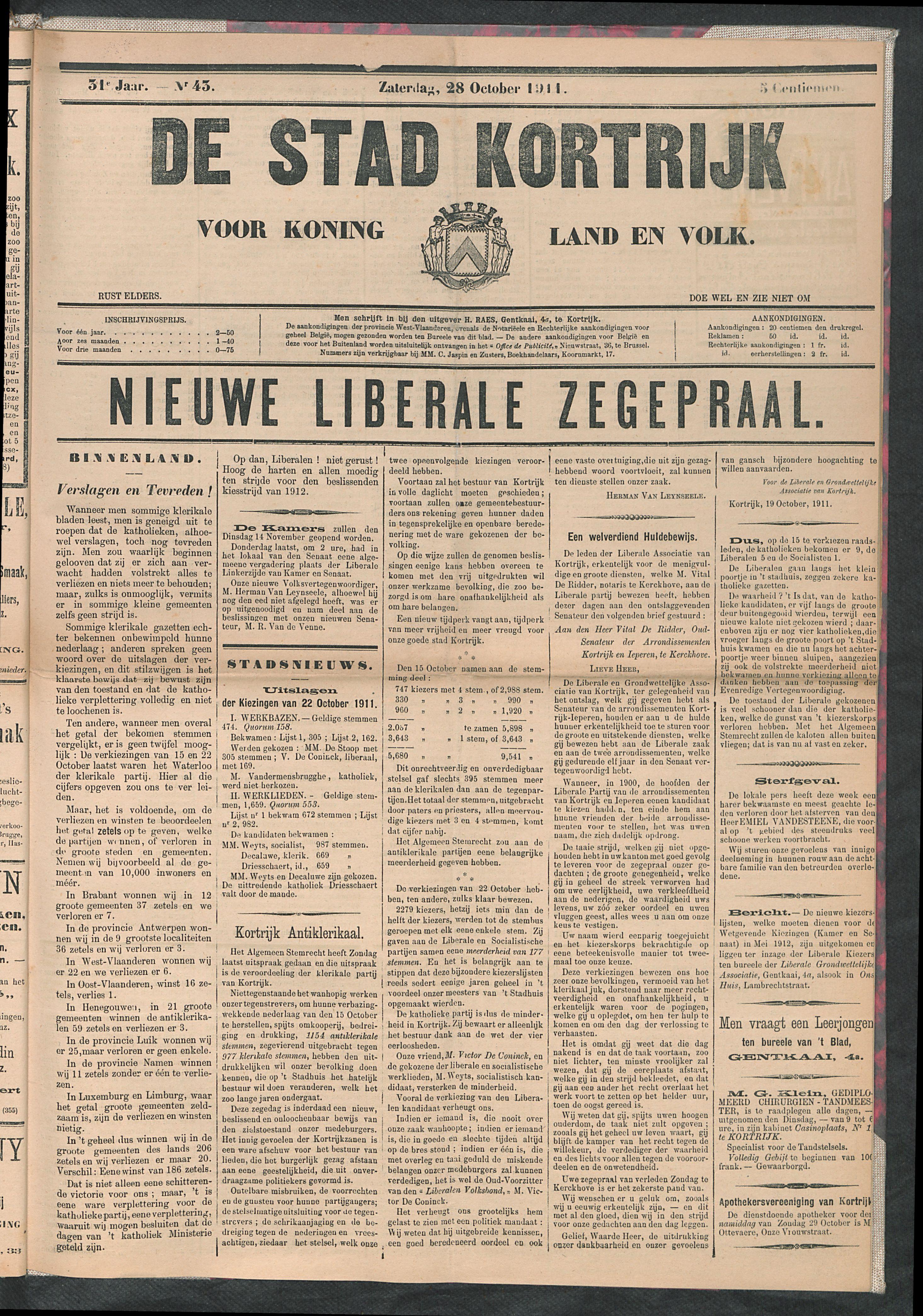 De Stad Kortrijk 1911-10-28 p1
