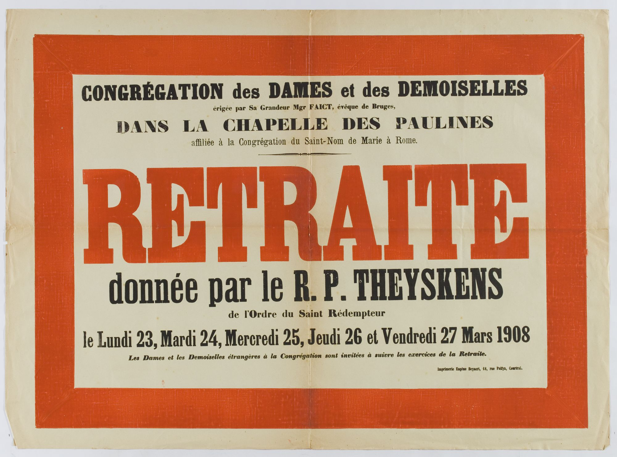 Retraite in de Kapel der Paulinen 1908