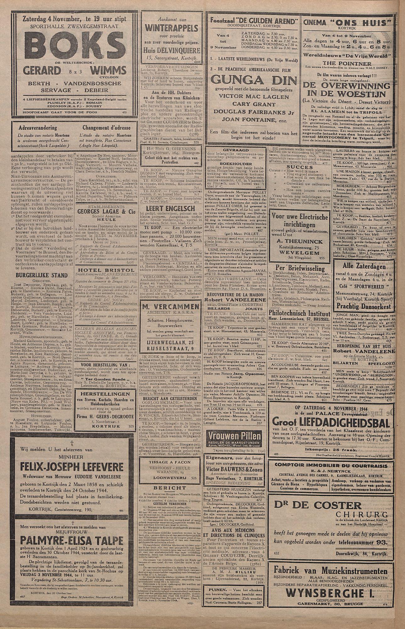 Kortrijksch Handelsblad 3 novermber 1944 Nr8 p2
