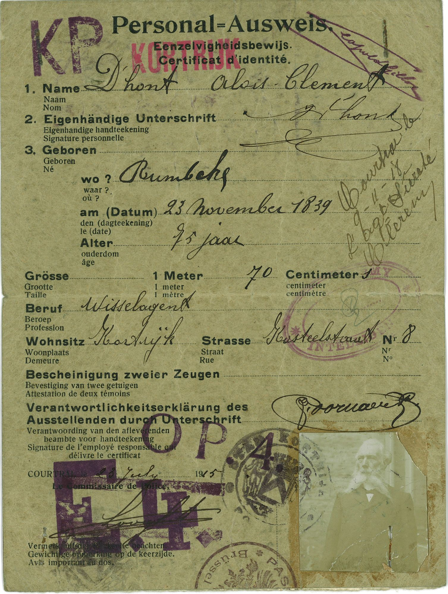 Personalsausweis 1915
