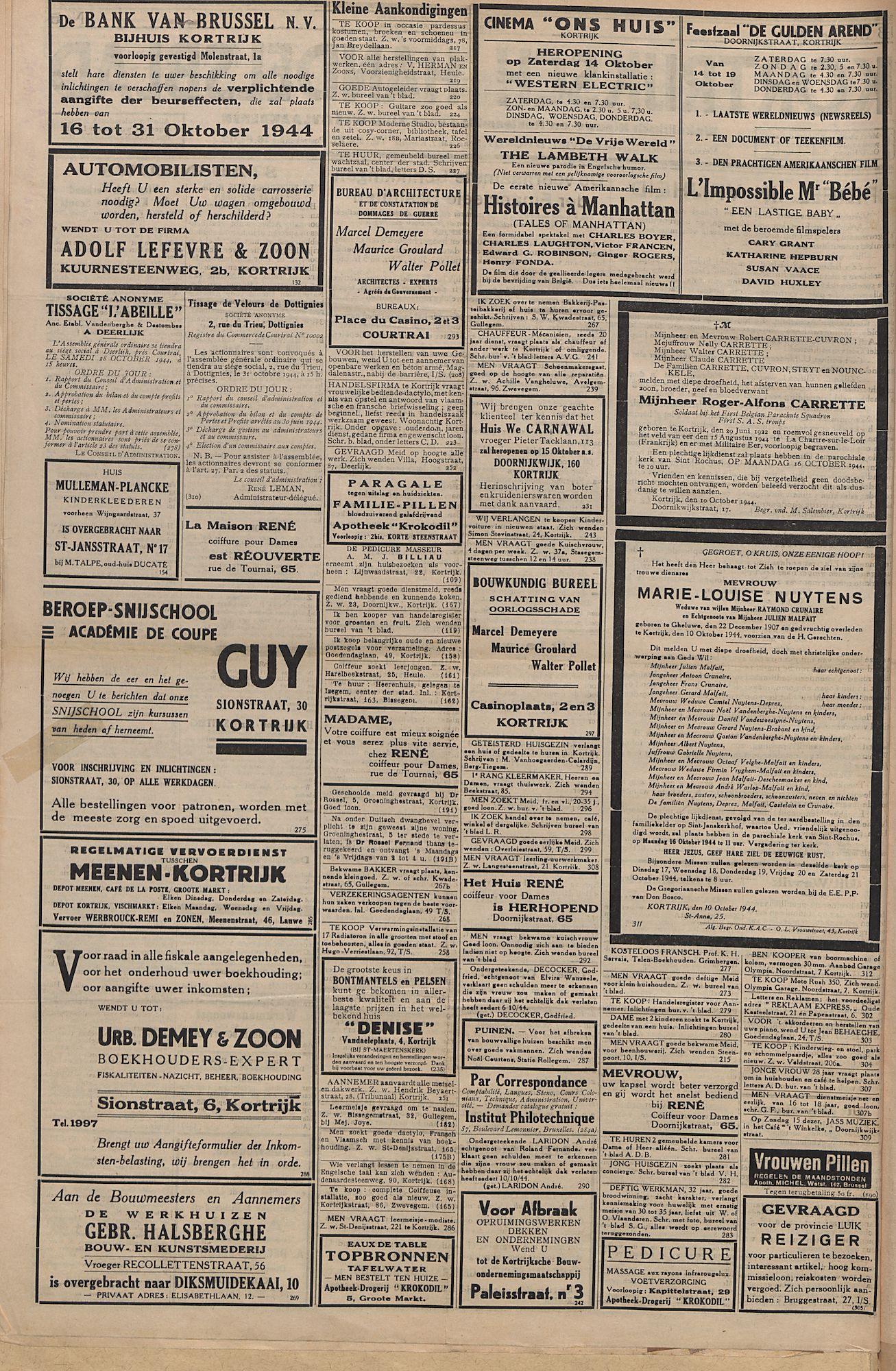 Kortrijksch Handelsblad 13 oktober 1944 Nr5 p2