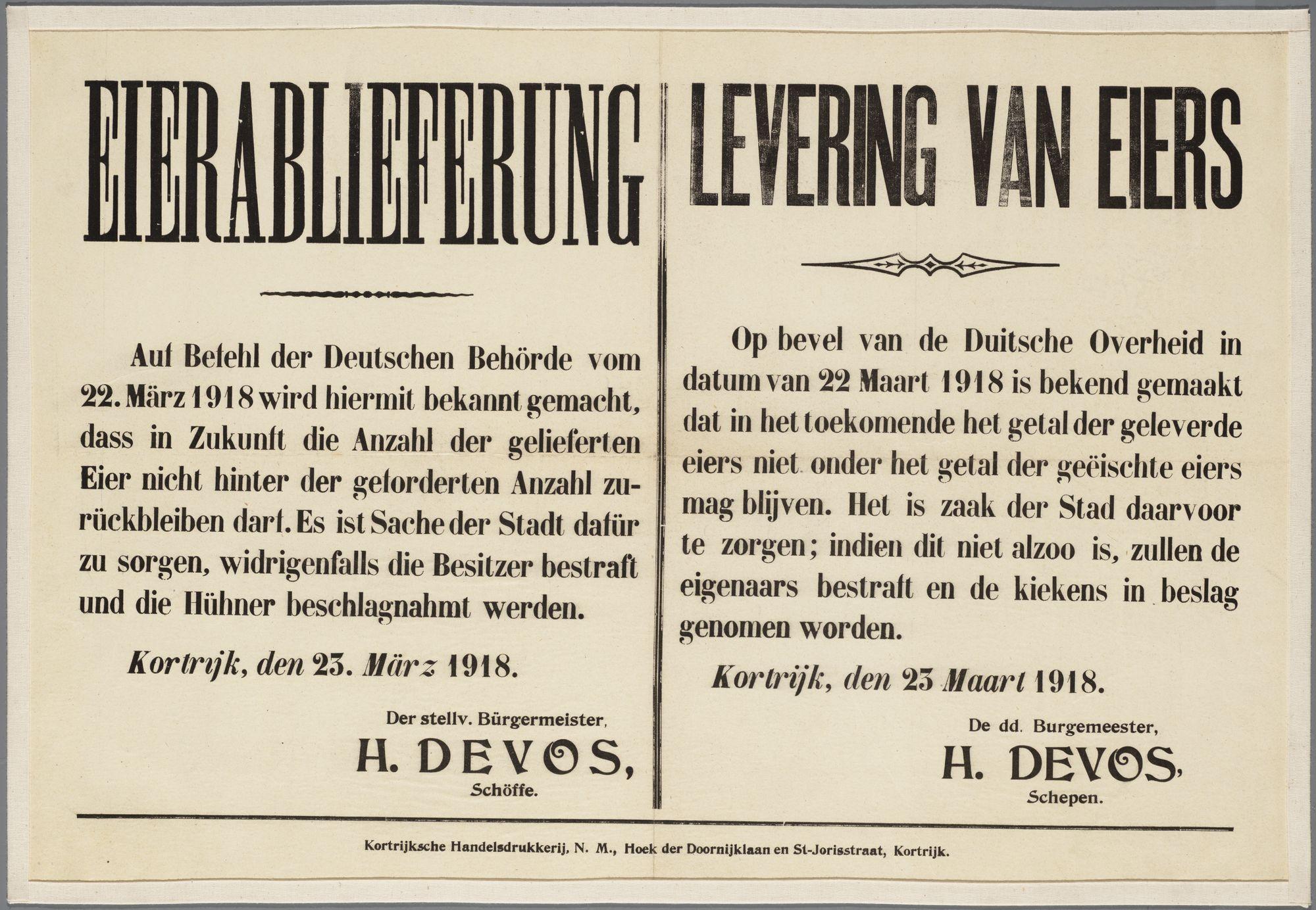 Bekendmaking van de Duitse Militaire overheid  1918
