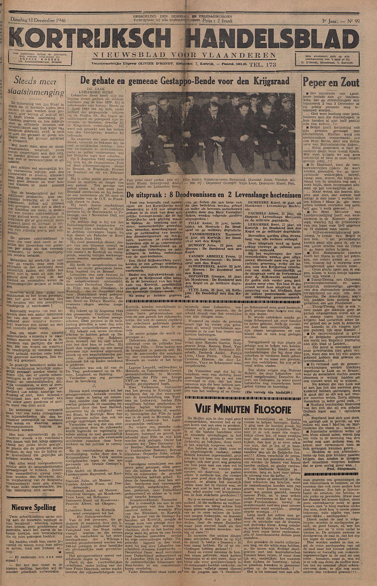Kortrijksch Handelsblad 10 december 1946 Nr99 p1
