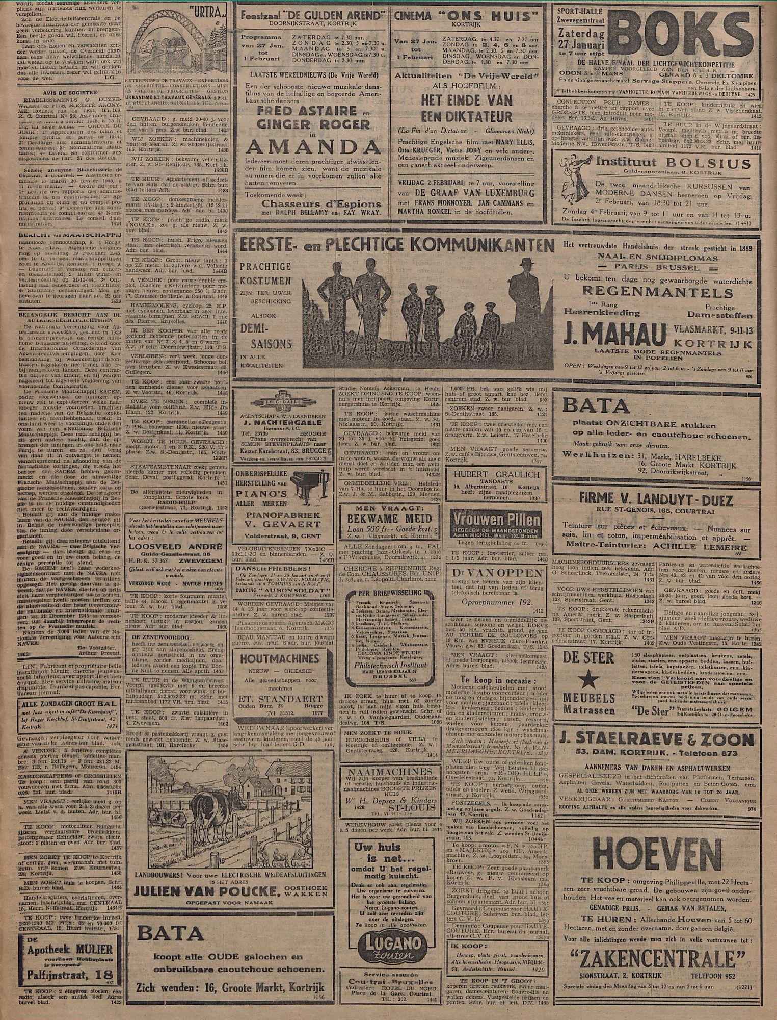 Kortrijksch Handelsblad 27 januari 1945 Nr8 p2