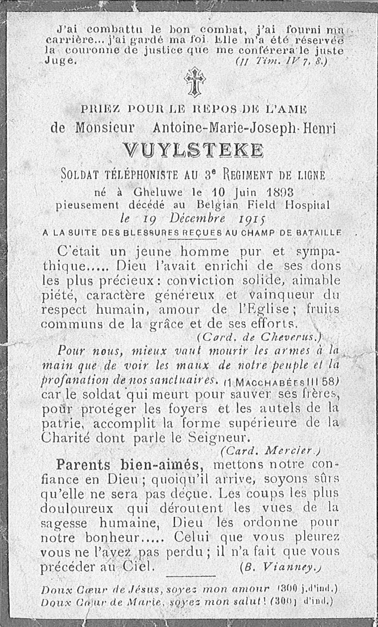 Antoine-Marie-Joseph-Henri Vuylsteke