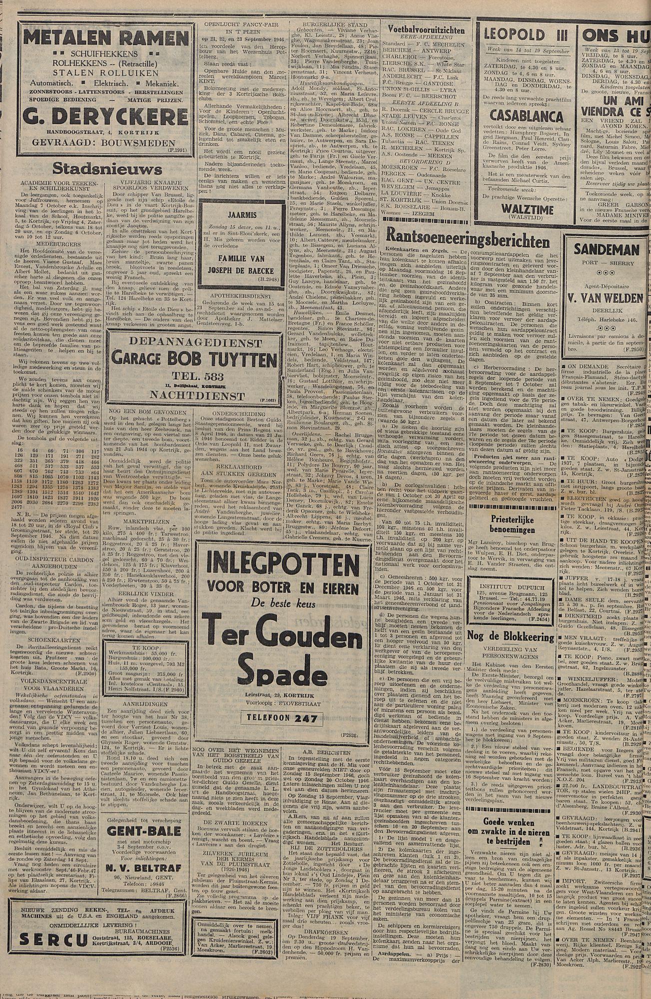 Kortrijksch Handelsblad 13 september 1946 Nr74 p2