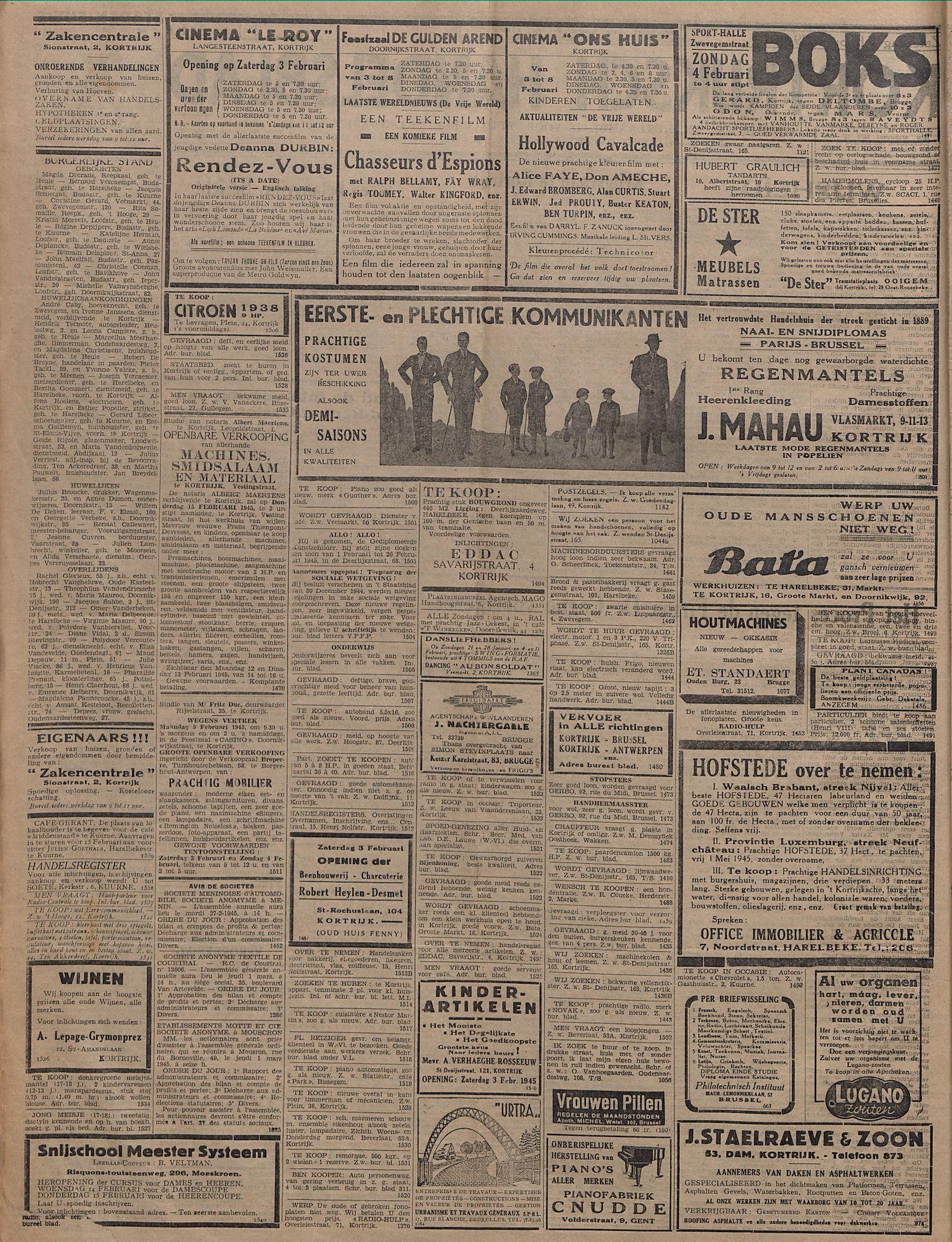 Kortrijksch Handelsblad 3 februari 1945 Nr10 p2