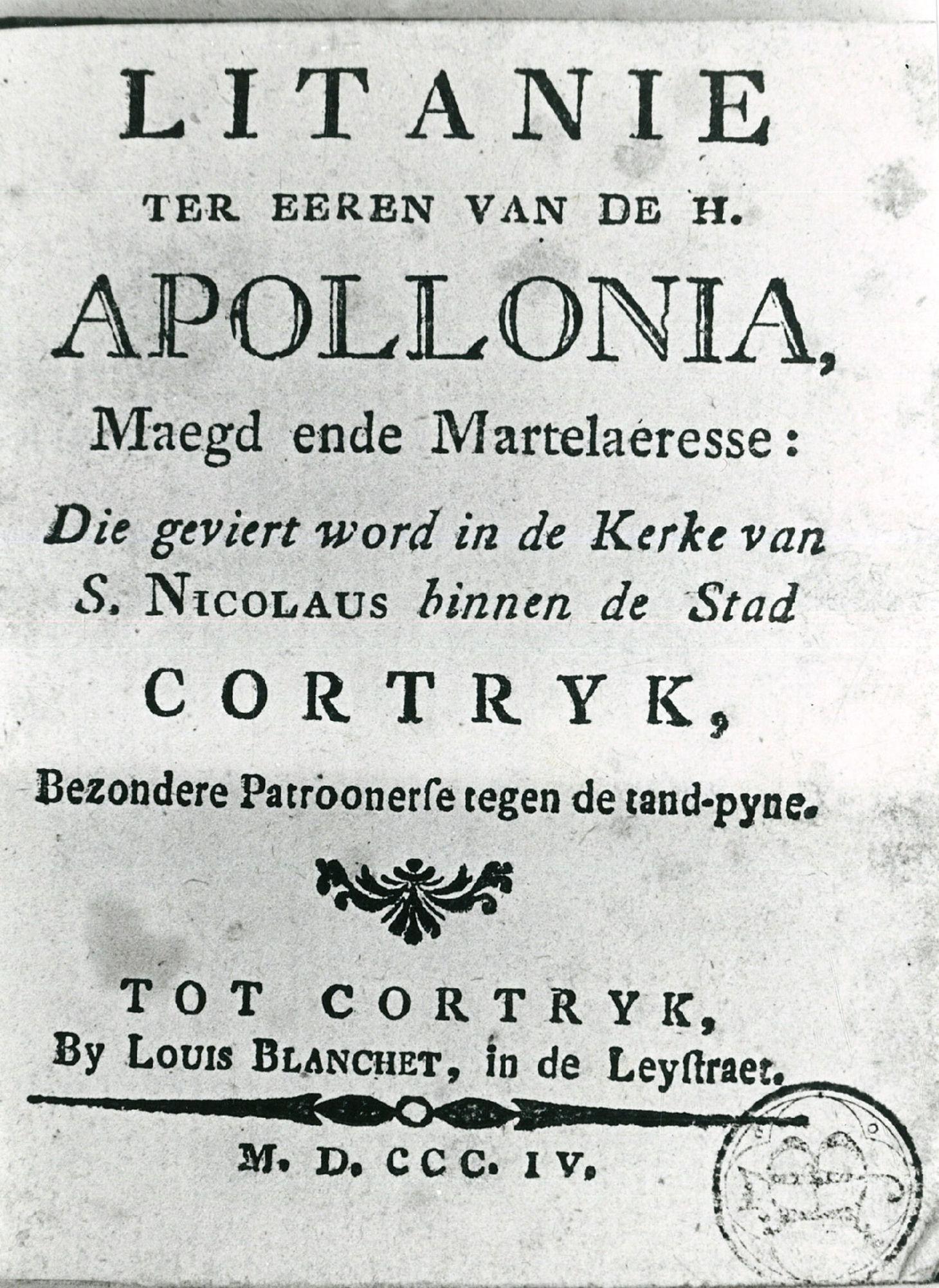 Titelblad van boekje Litanie Apollonia