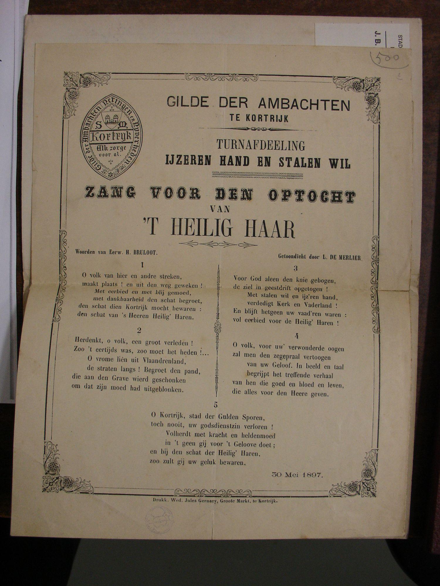 Zang voor de optocht van het Heilig Haar 1897