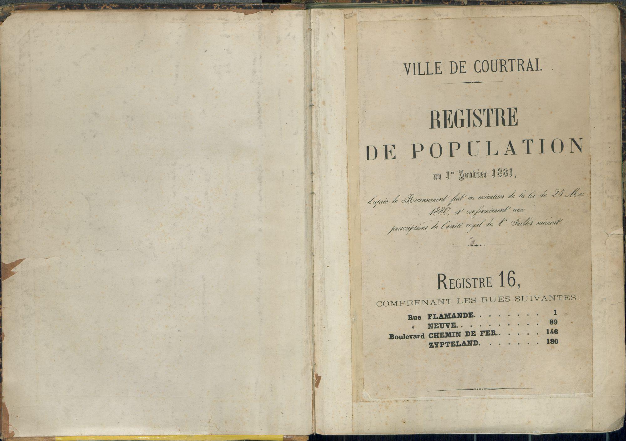 Bevolkingsregister Kortrijk 1880 boek 16