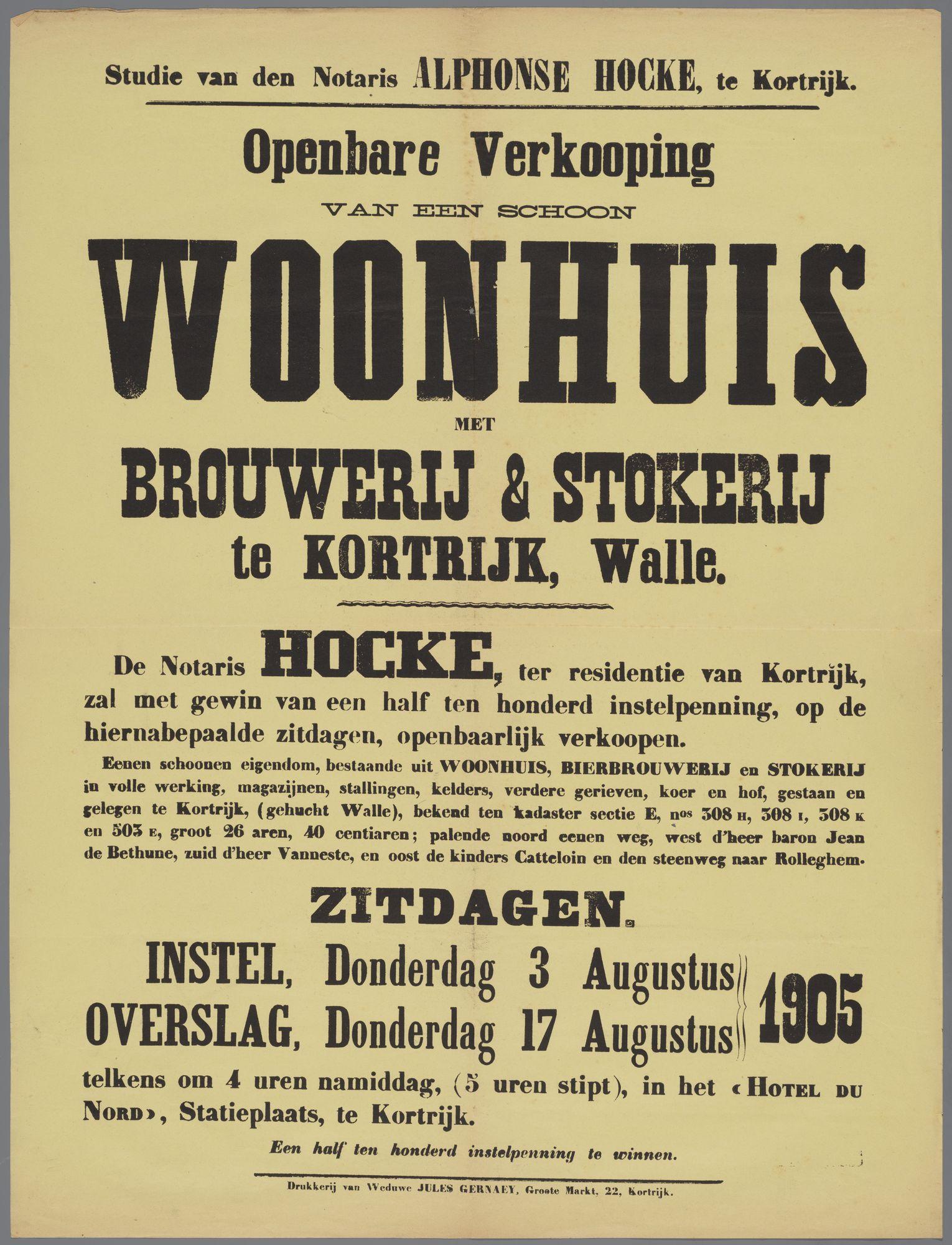 Verkoop woonhuis met brouwerij en stokerij te Kortrijk 1905