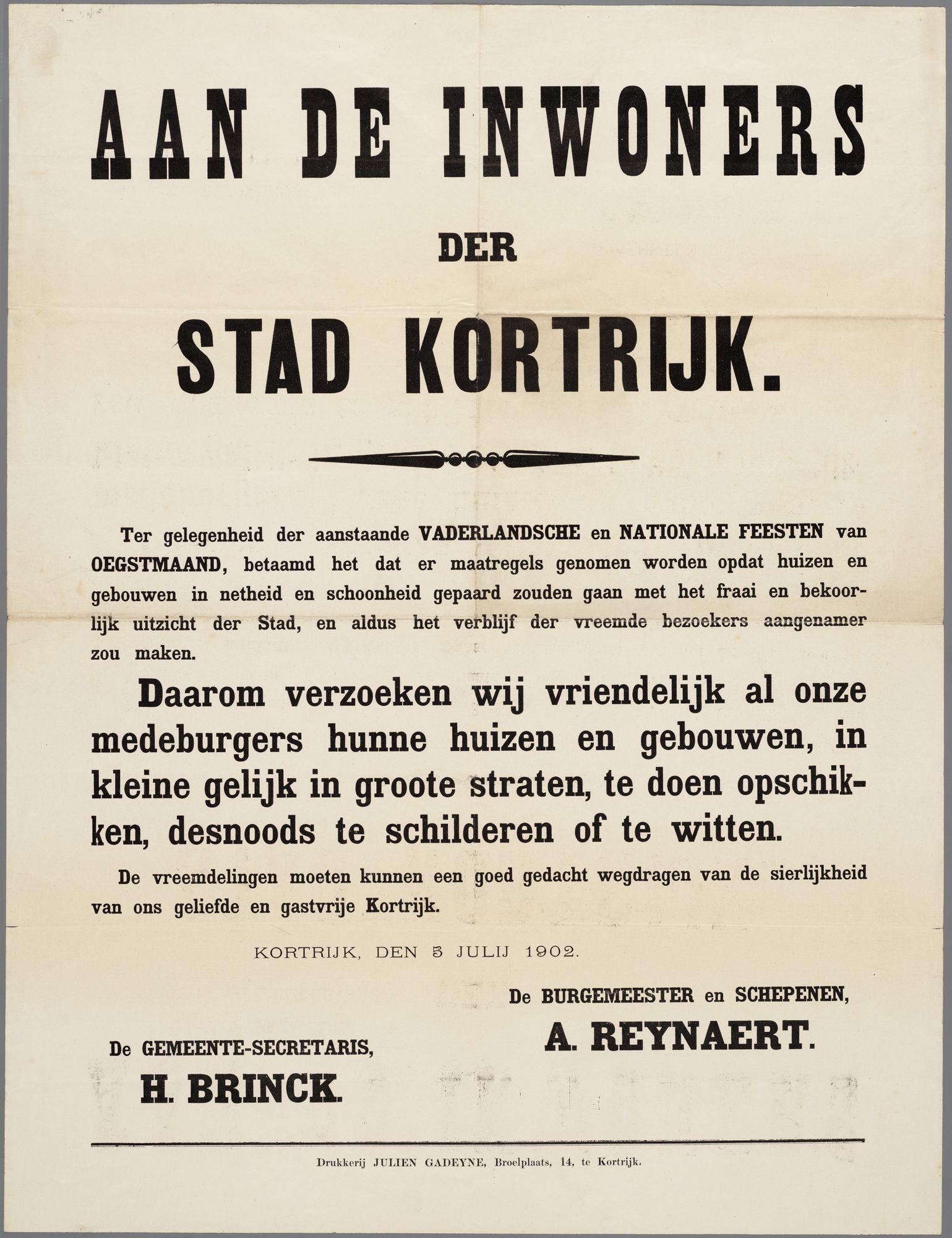 Oproep aan de inwoners van Kortrijk 1902
