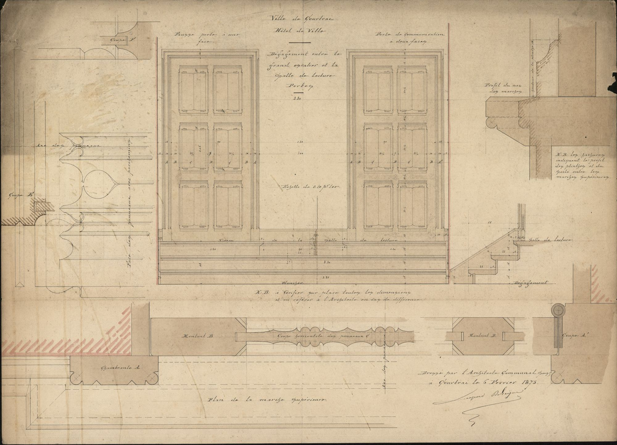 Figuratieve plattegronden i.v.m. een leeszaal en een trap in het stadhuis te Kortrijk, 19de-20ste eeuw