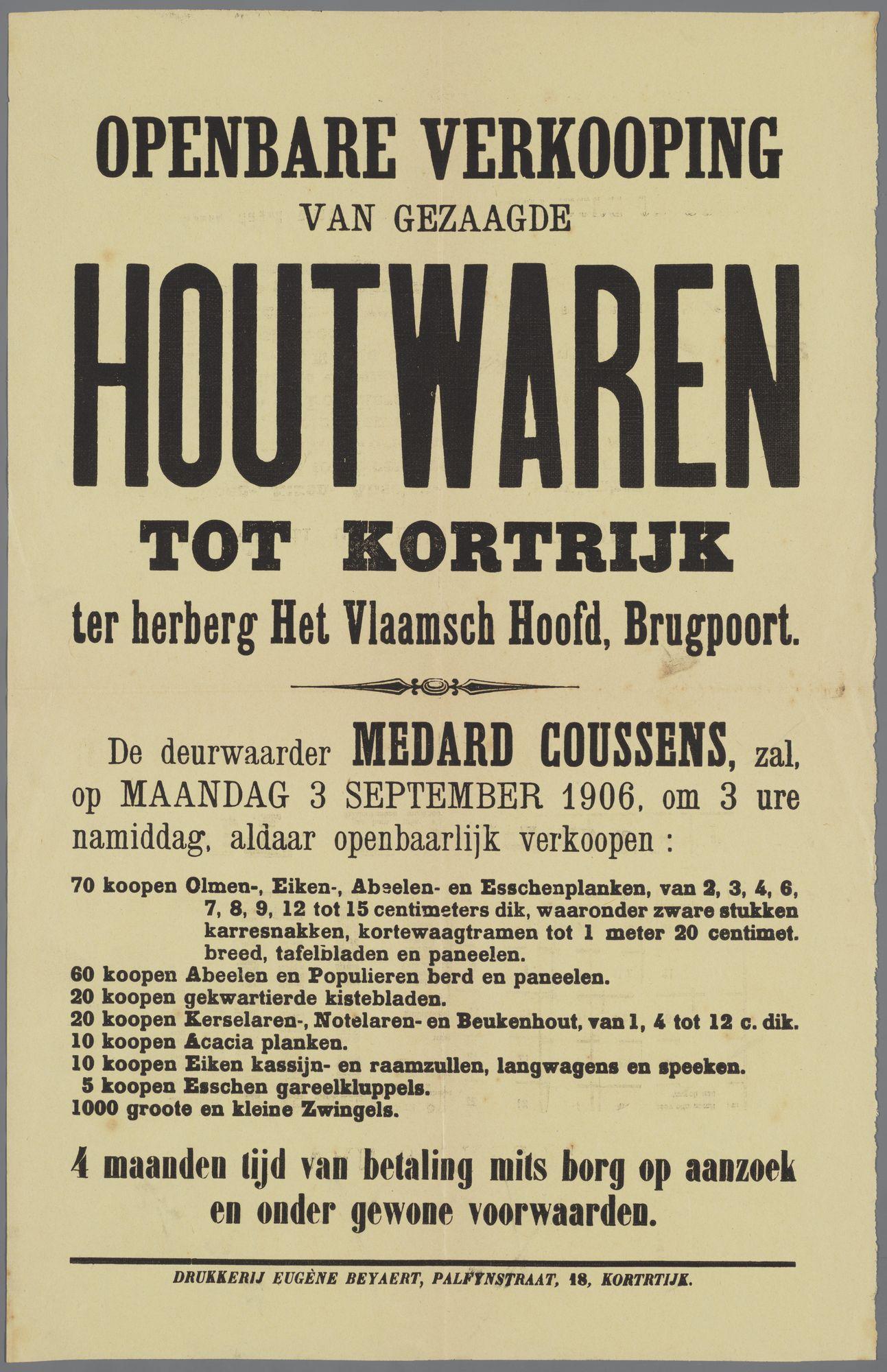 Verkoop van houtwaren 1906