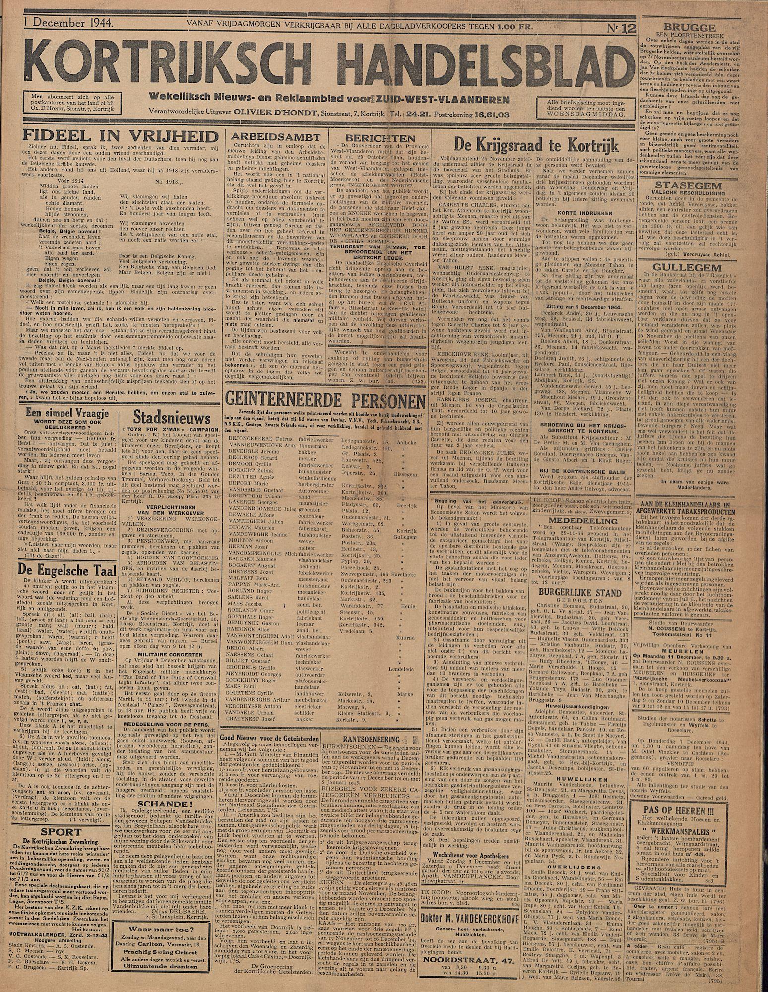 Kortrijksch Handelsblad 1 december 1944 Nr12 p1