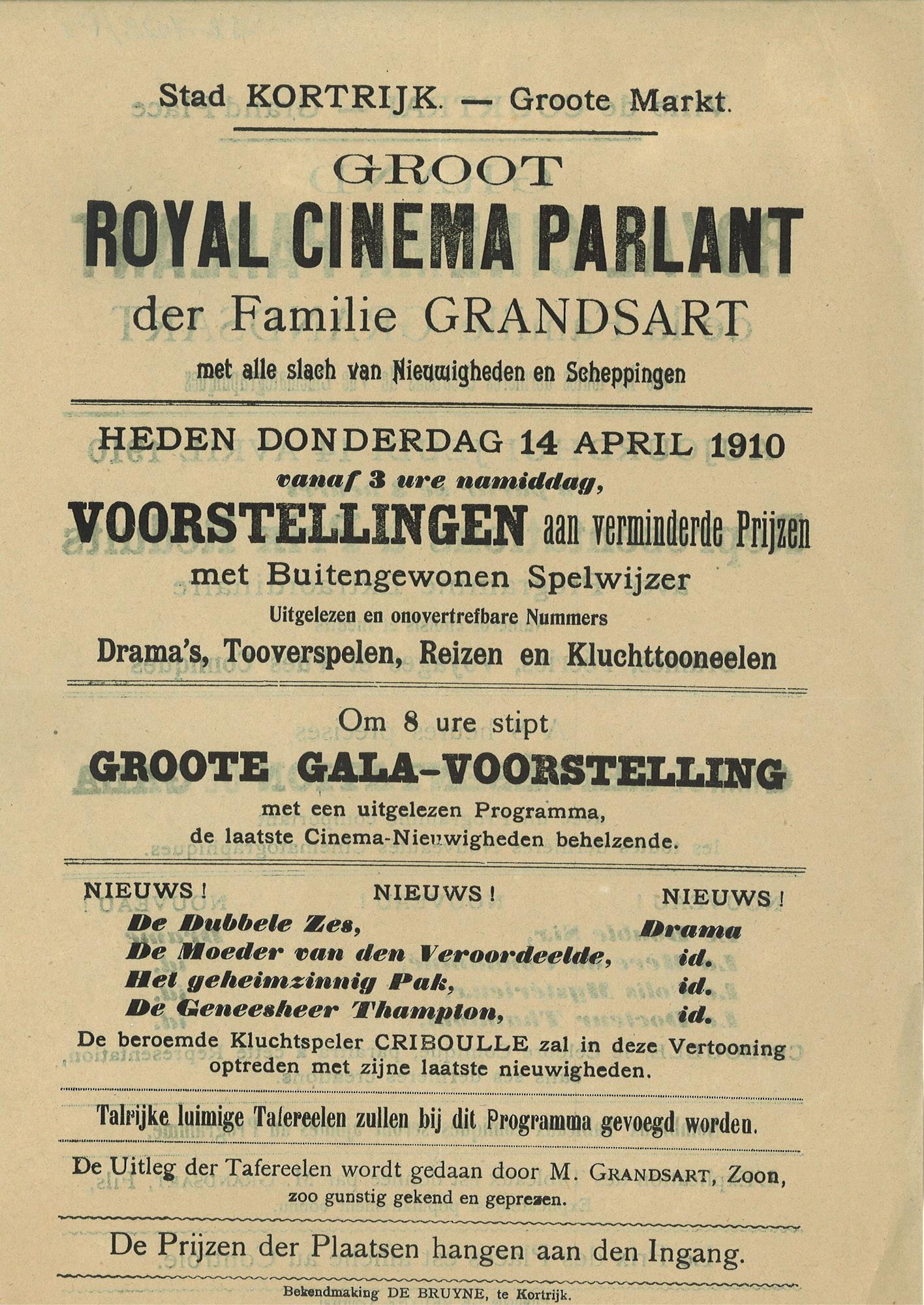 Paasfoor 1910: Cinema Parlant van Grandsart