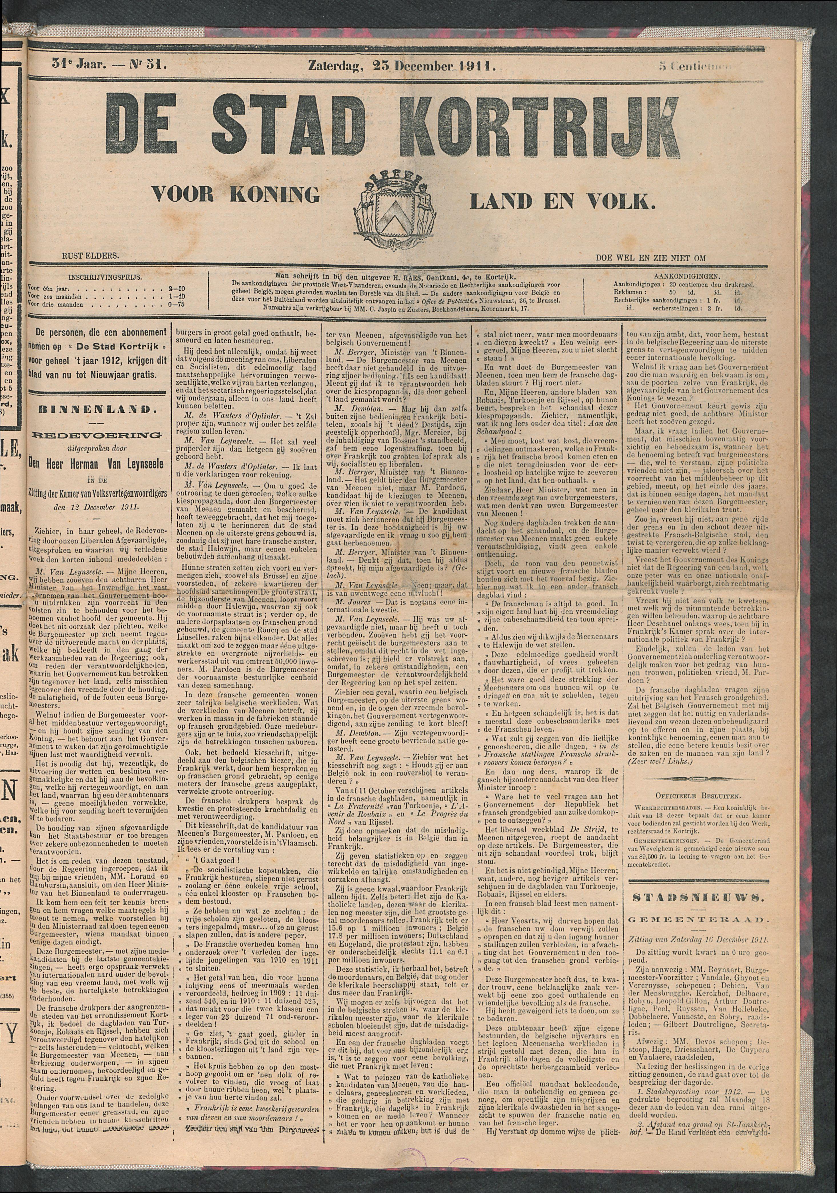 De Stad Kortrijk 1911-12-23 p1