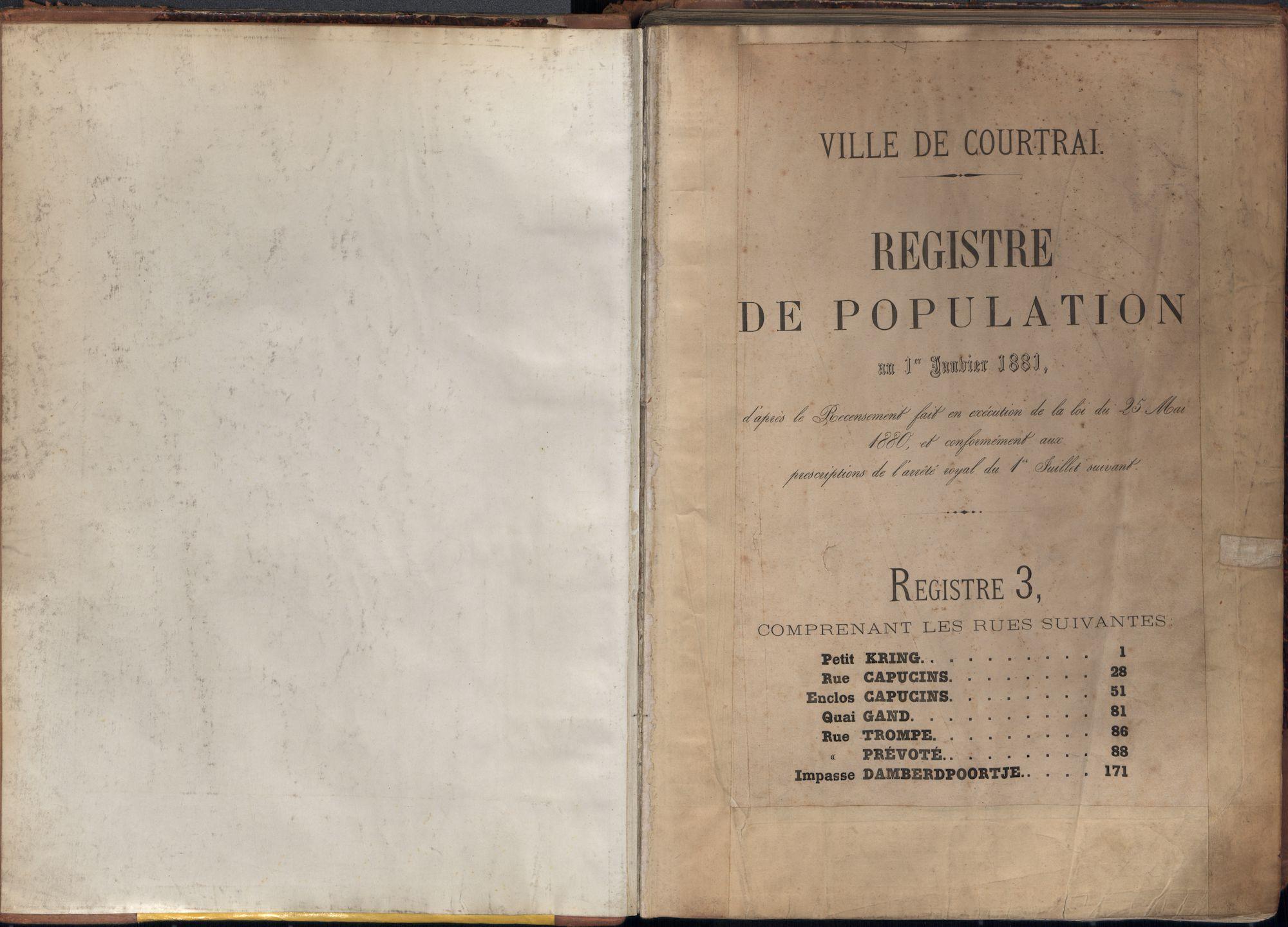 Bevolkingsregister Kortrijk 1880 boek 3