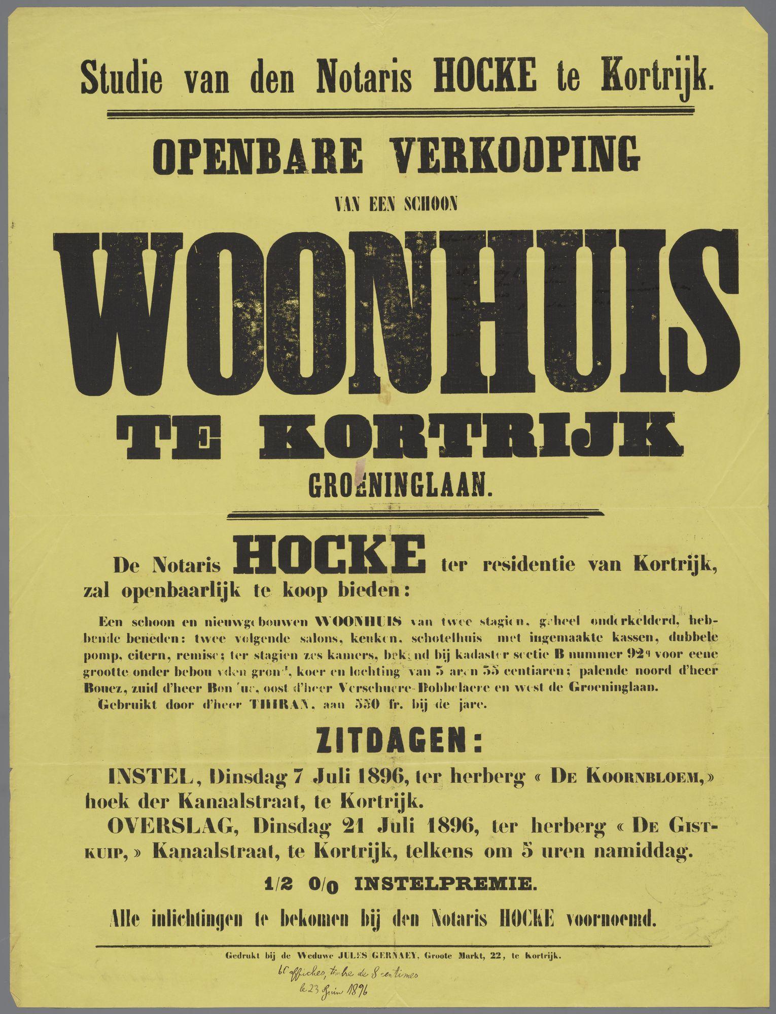 Verkoop van woonhuis te Kortrijk 1896