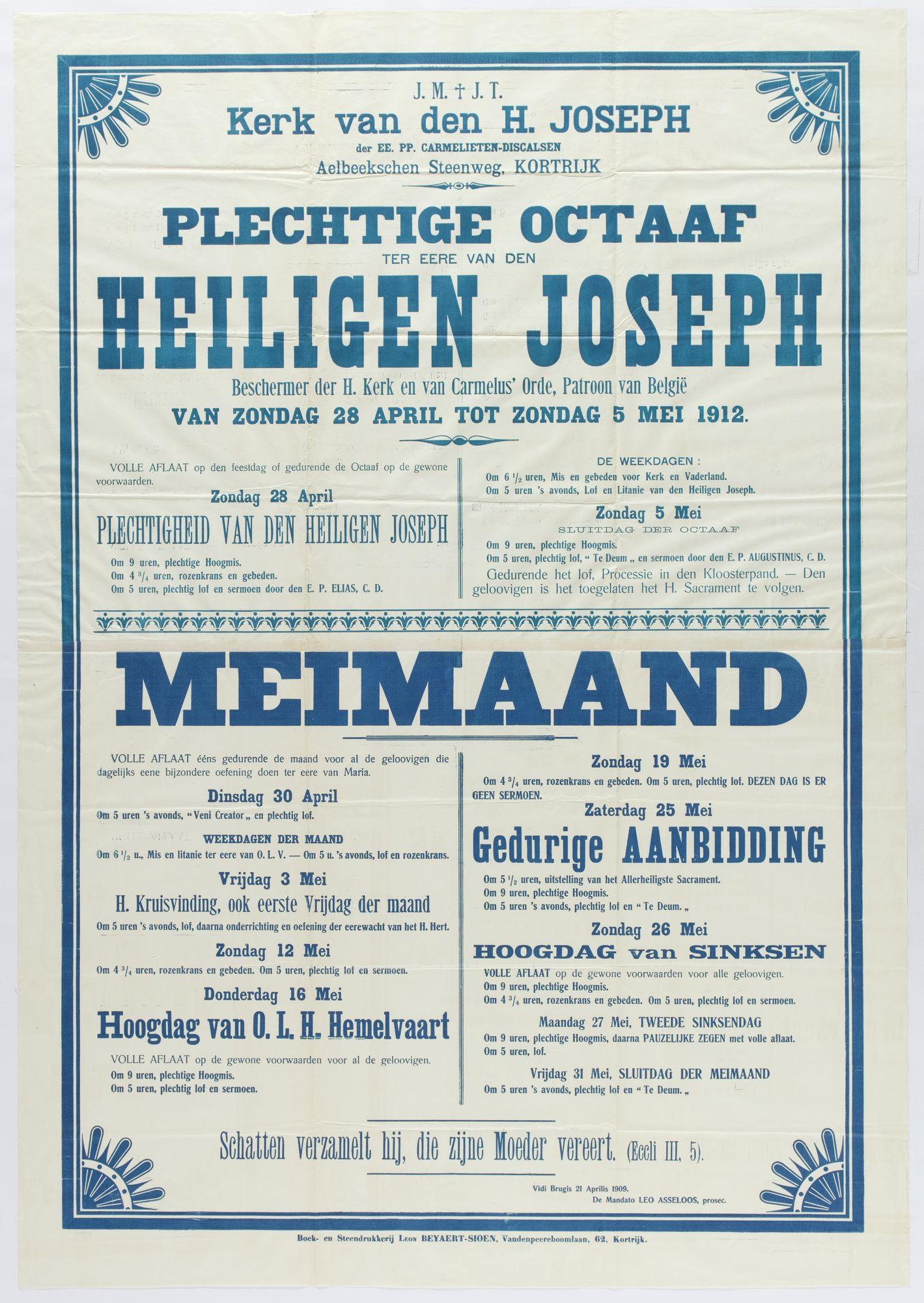 Plechtigheden Sint Jozefskerk 1912