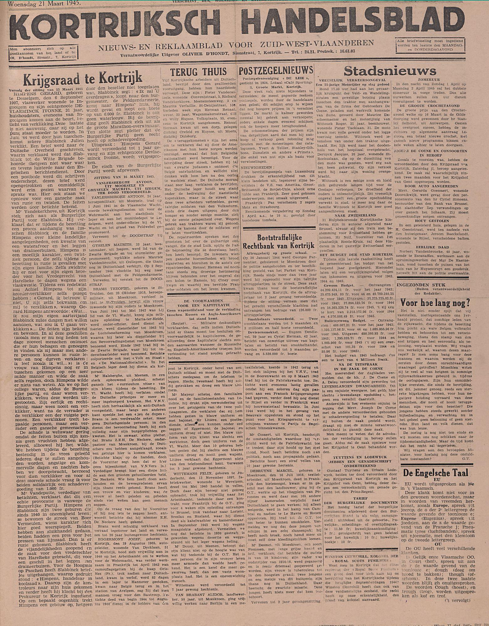 Kortrijksch Handelsblad 21 maart 1945 Nr23 p1