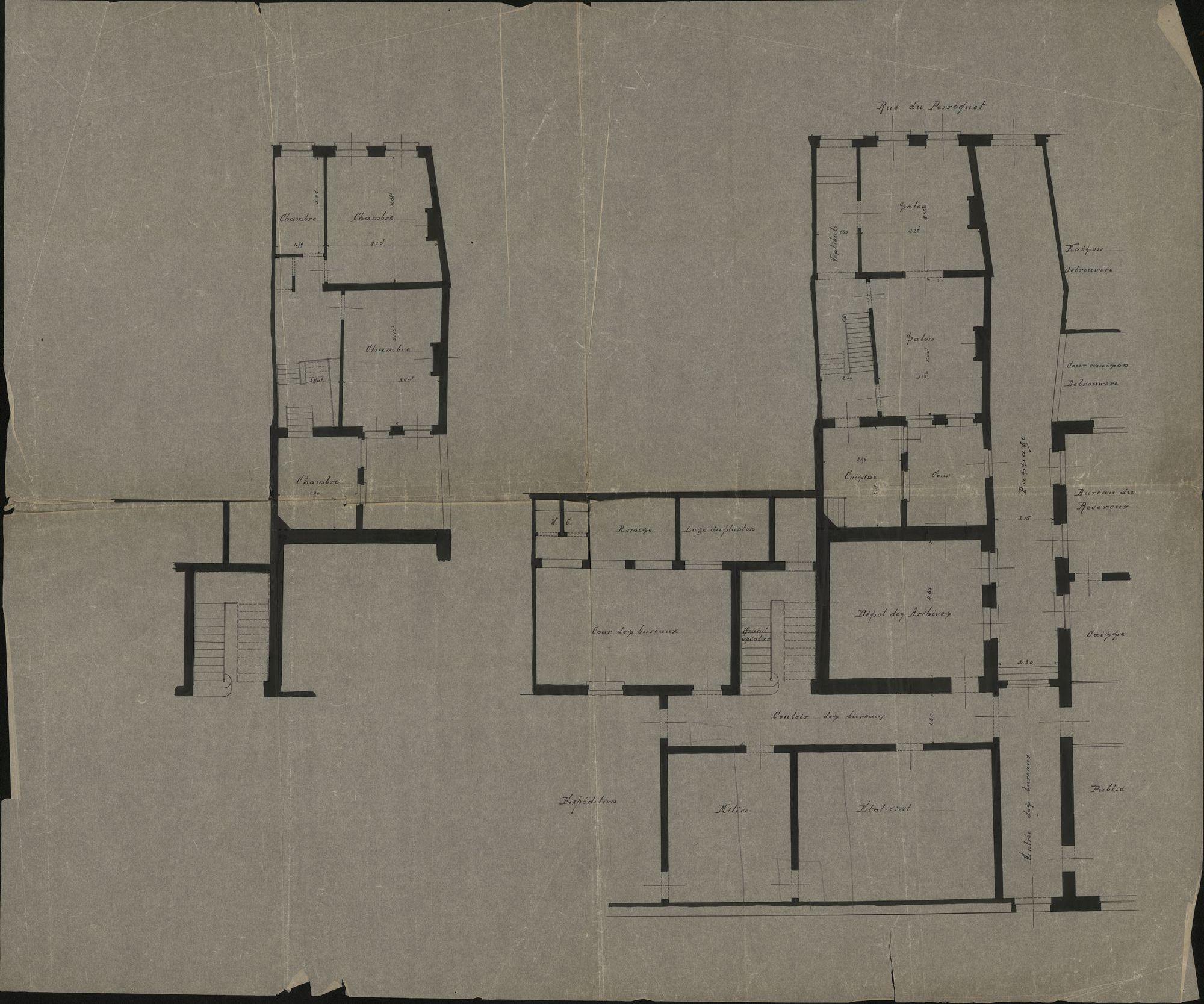 Plattegronden van het stadhuis van Kortrijk, opgemaakt door A. Denis en P. Croquison, 1849-20ste eeuw