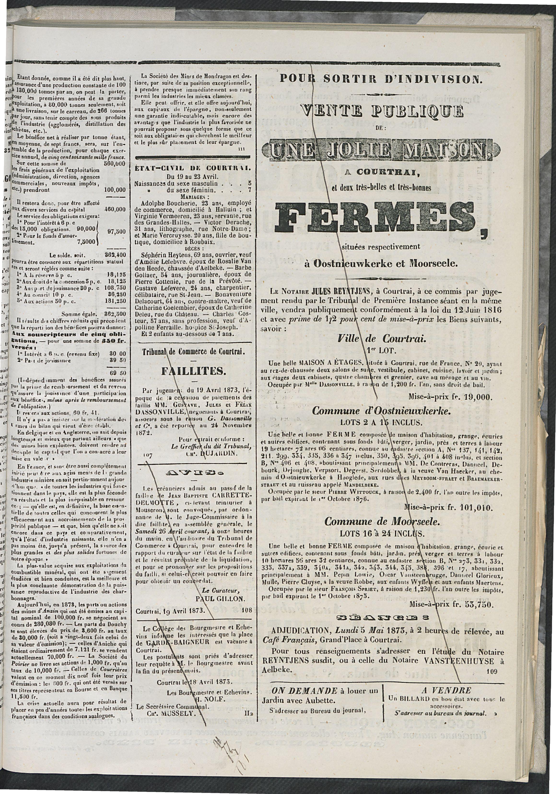 L'echo De Courtrai 1873-04-24 p3